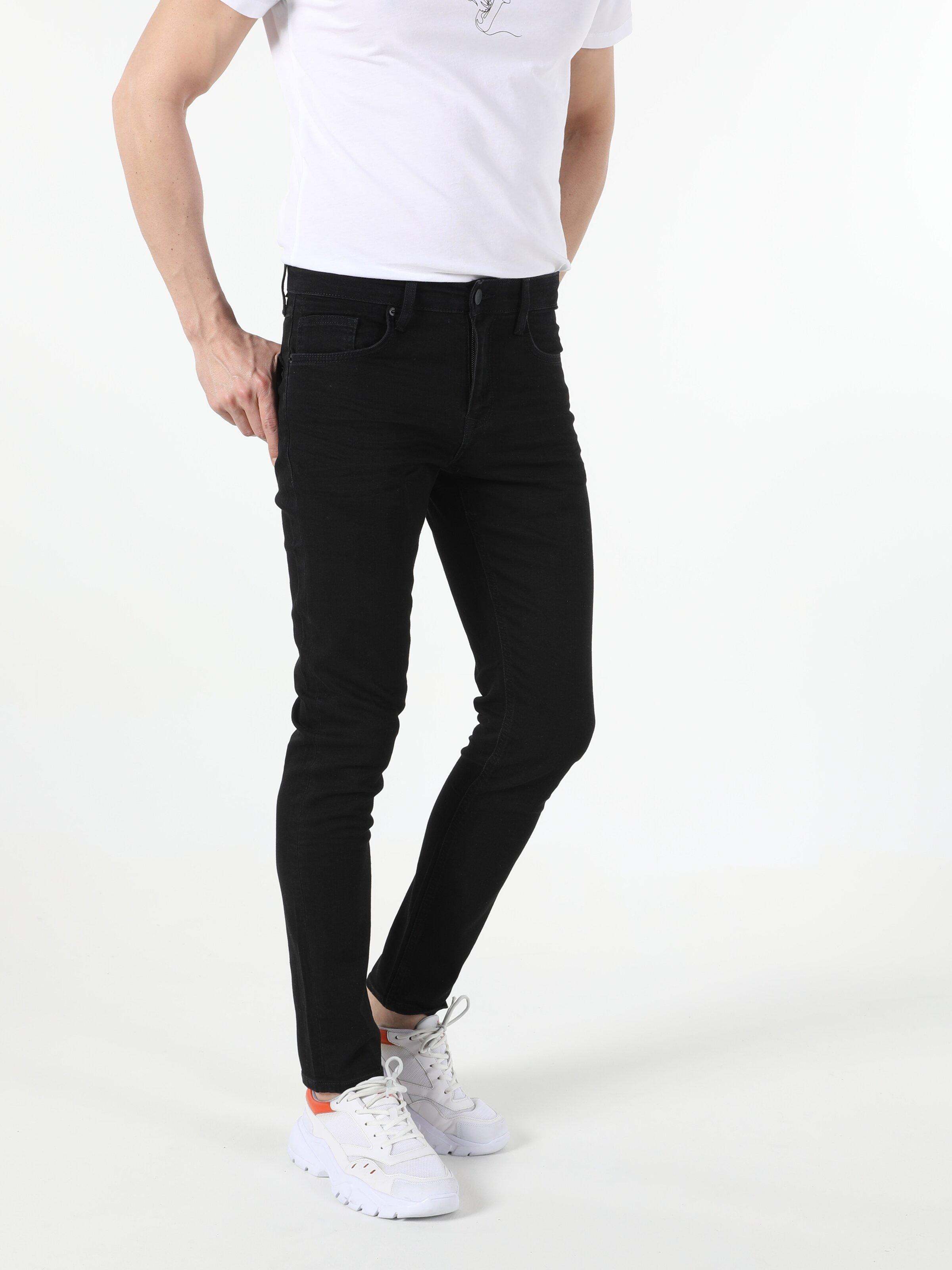 041 Danny Slim Fit Düşük Bel Slim Leg  Erkek Siyah Jean Pantolon