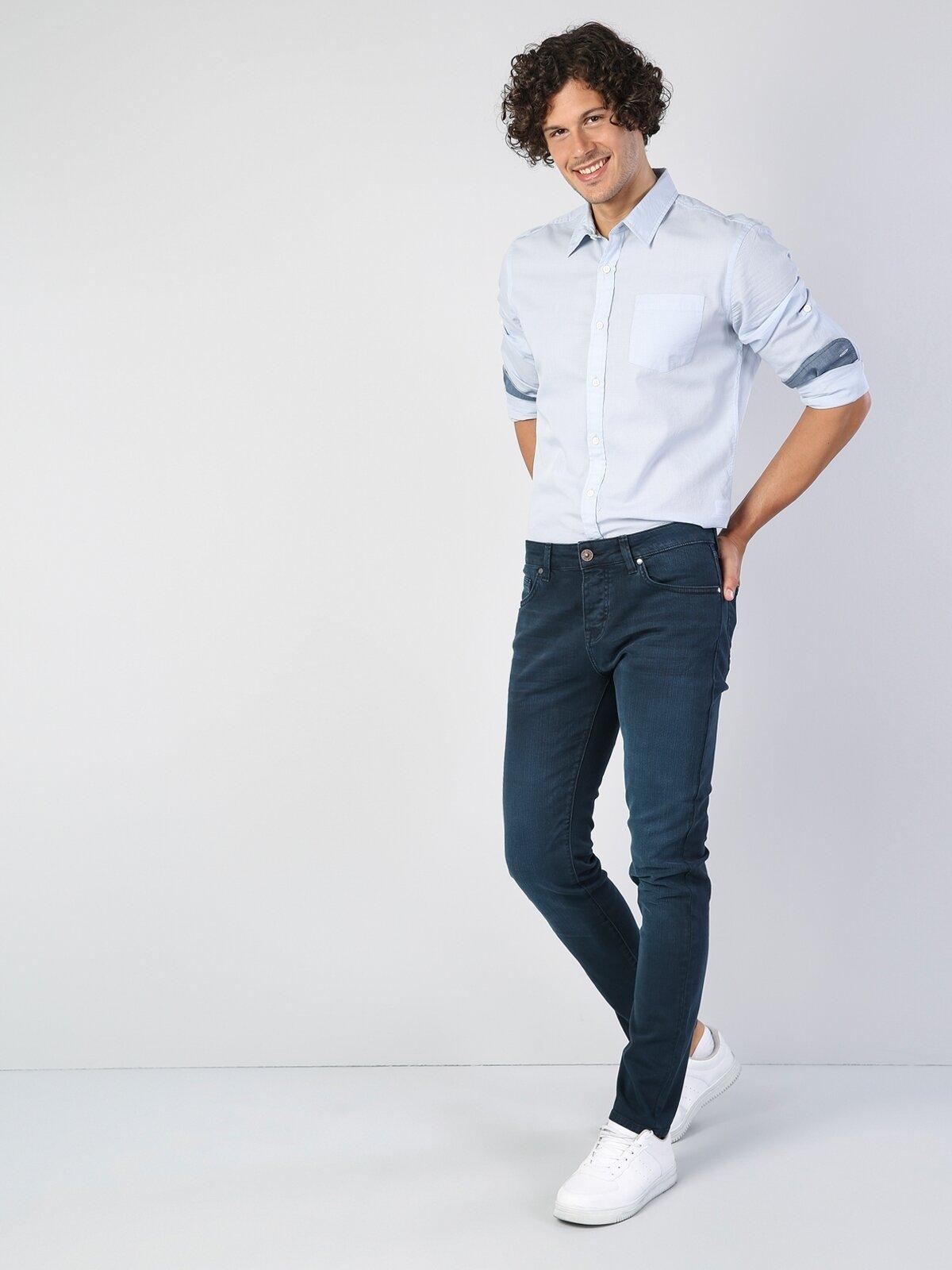 044 Karl Straight Fit Orta Bel Düz Paça  Erkek Lacivert Pantolon