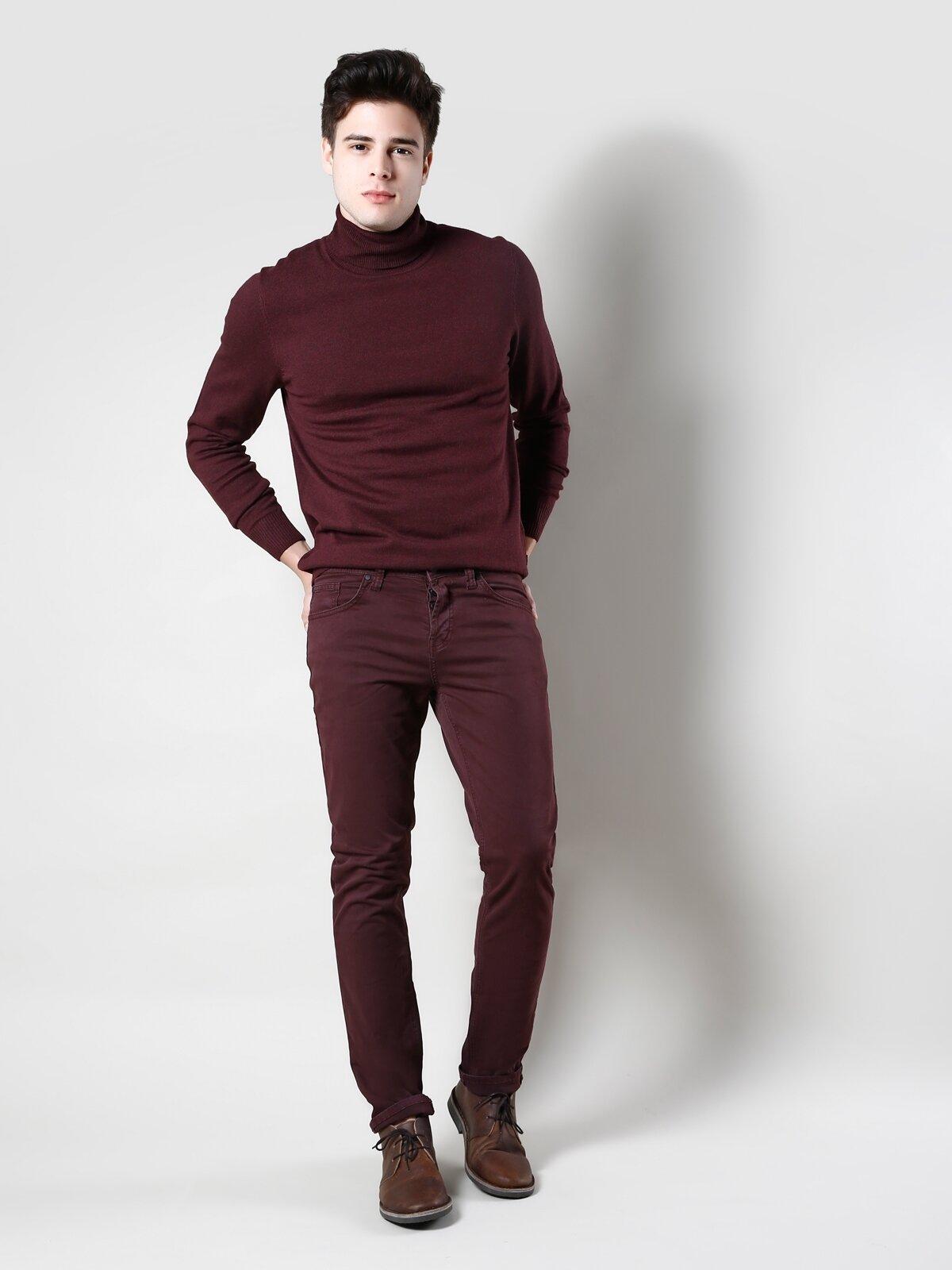 044 Karl Straight Fit Orta Bel Düz Paça Erkek Mor Pantolon
