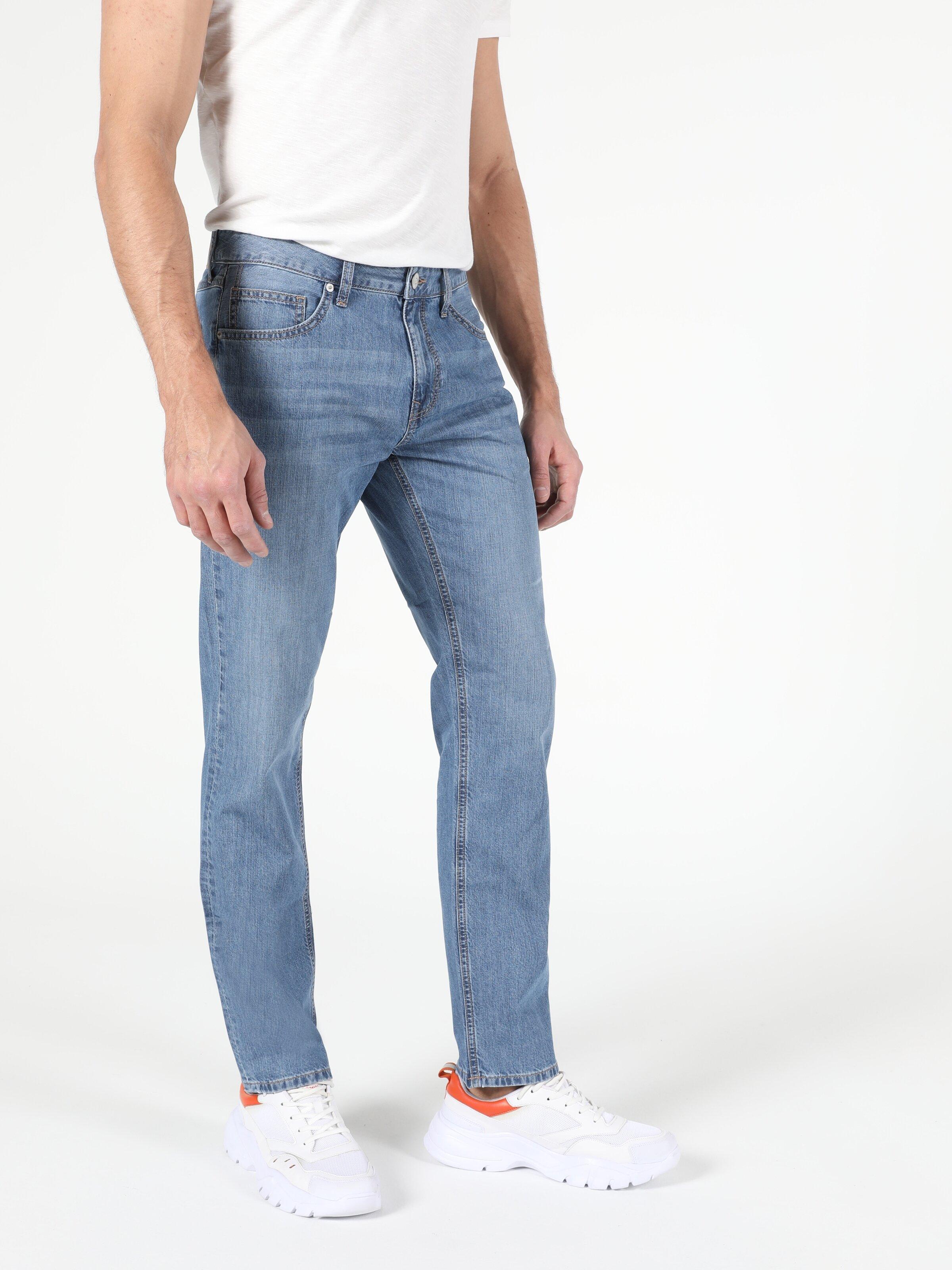 045 David Regular Fit Orta Bel Düz Paça  Erkek İndigo Jean Pantolon