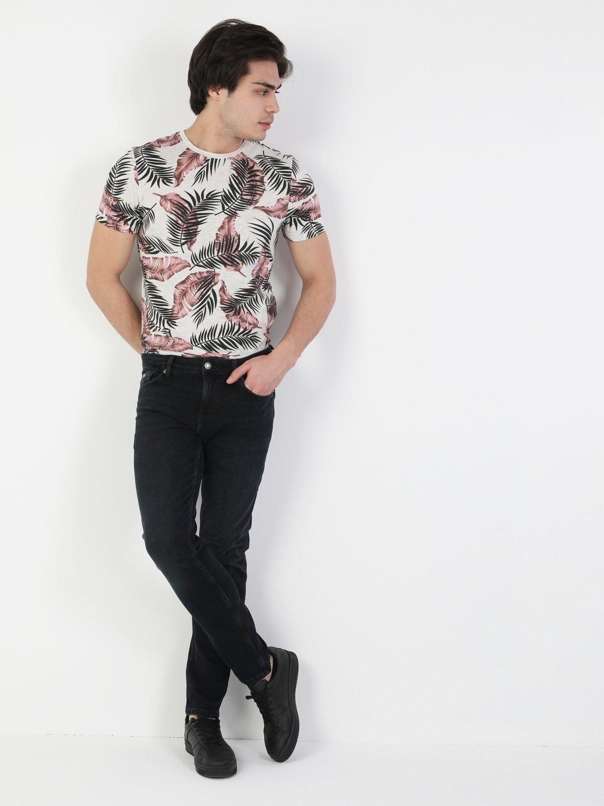 44 Karl Normal Kesim Düşük Bel Düz Paça Erkek Lacivert Jean Pantolon
