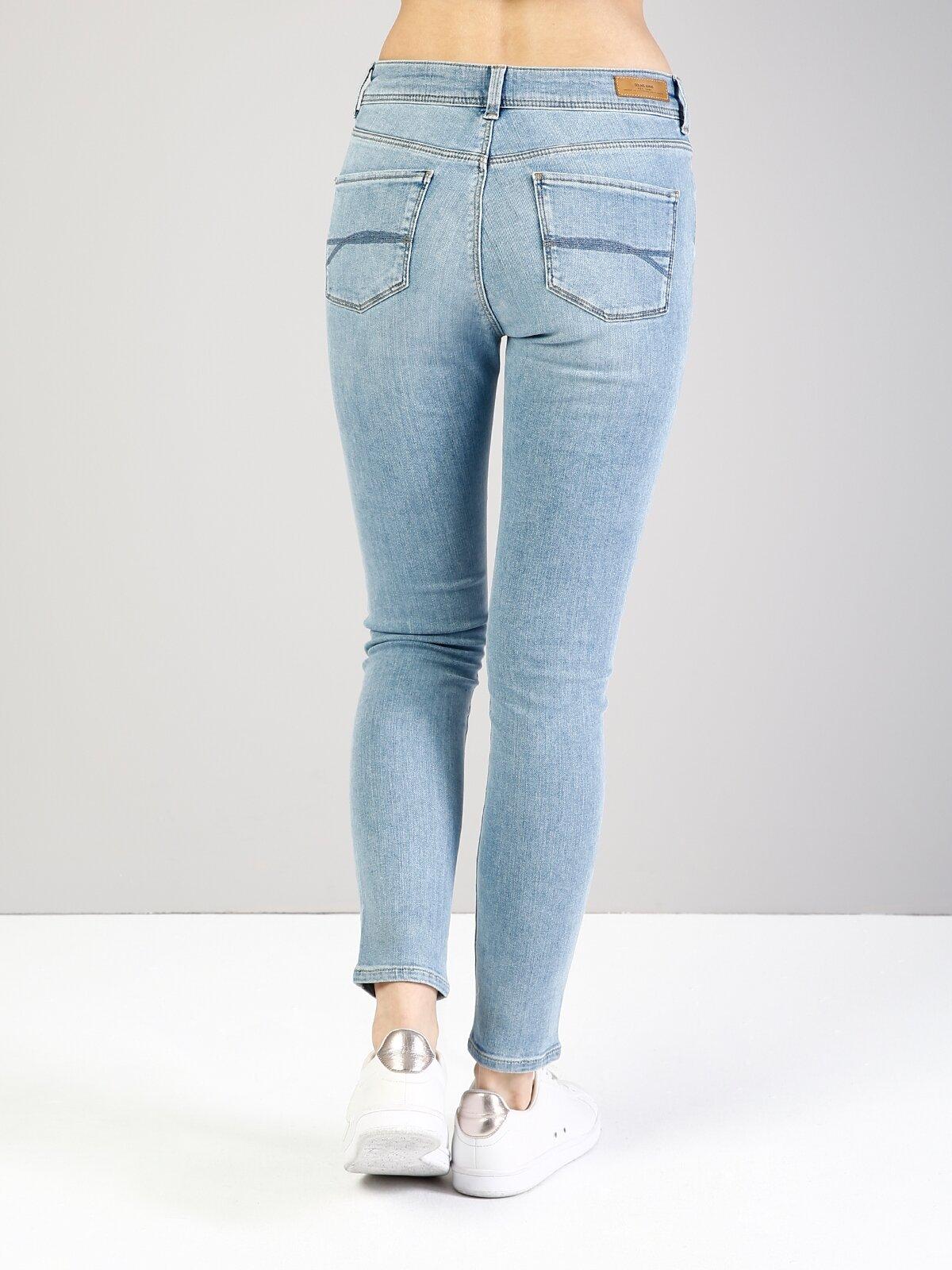 759 Lara Orta Bel Dar Paça Super Slim Fit Mavi Kadın Jean Pantolon