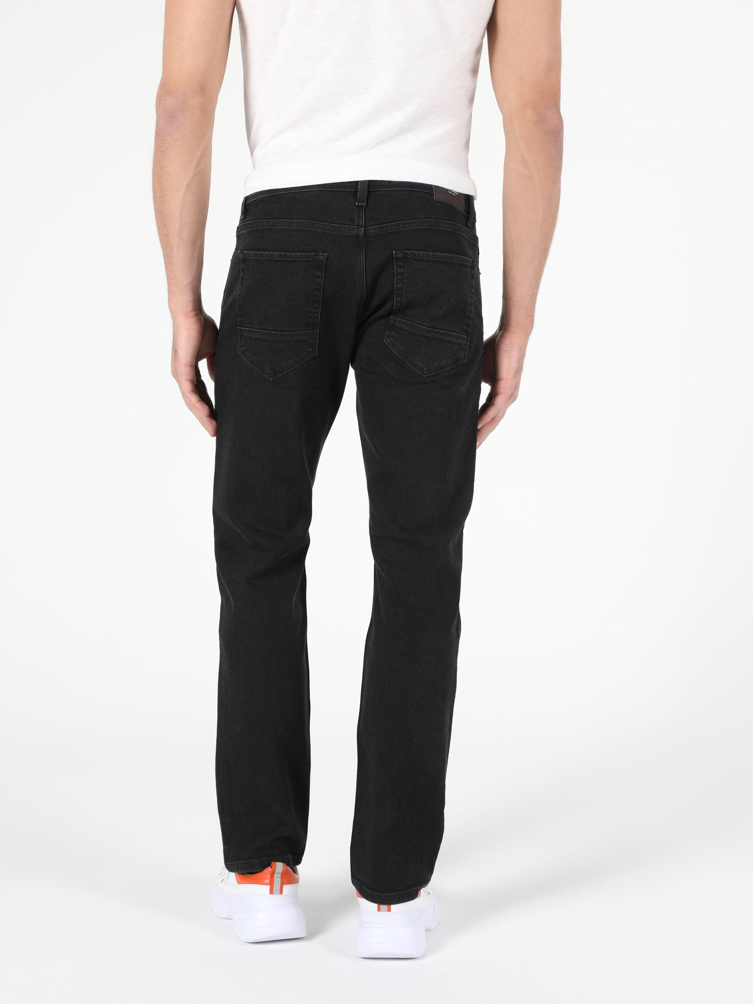 Orta Bel Düz Paça Regular Fit Siyah Erkek Jean Pantolon