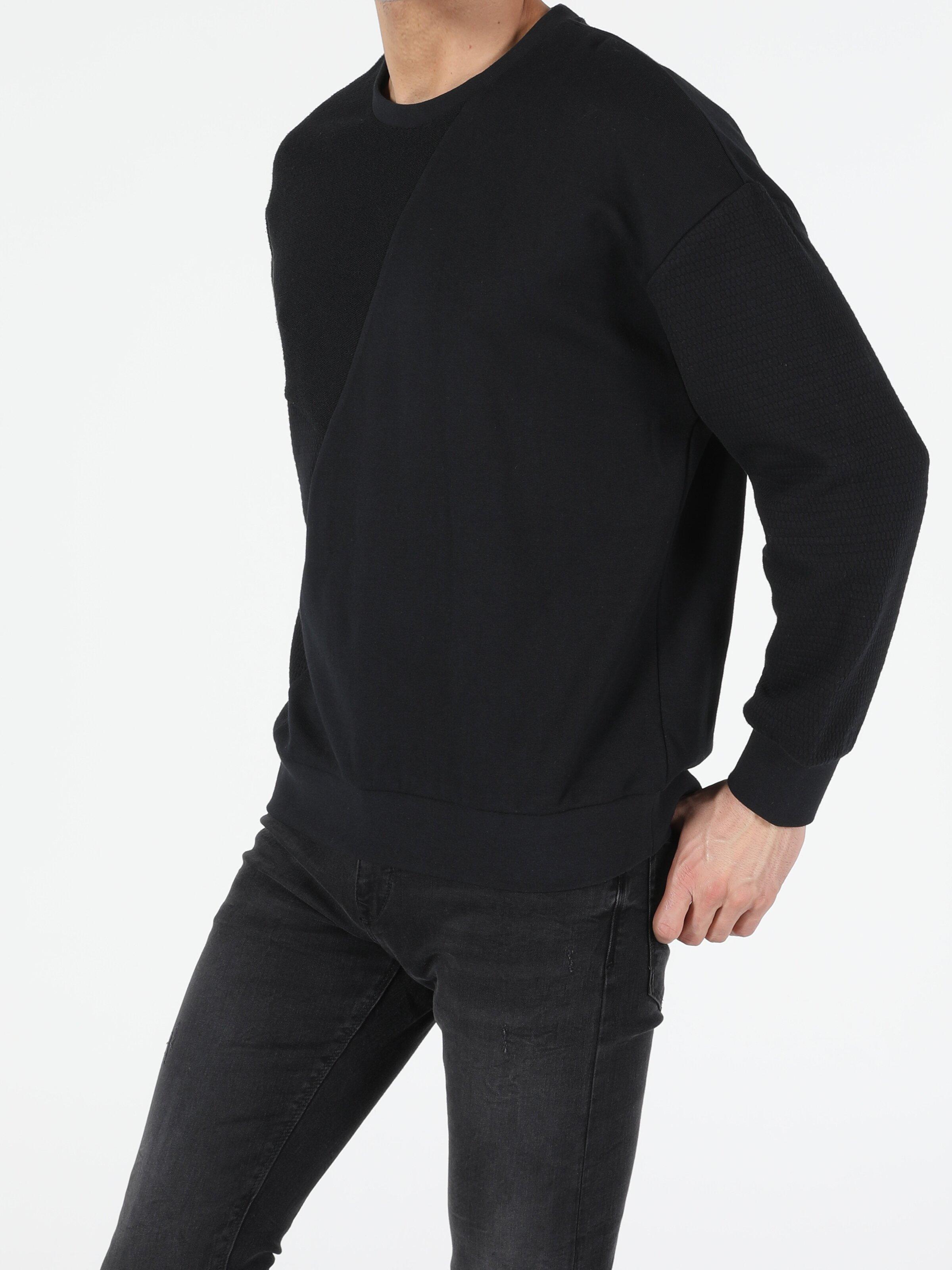 Oversize Fit Erkek Siyah Sweatshirt