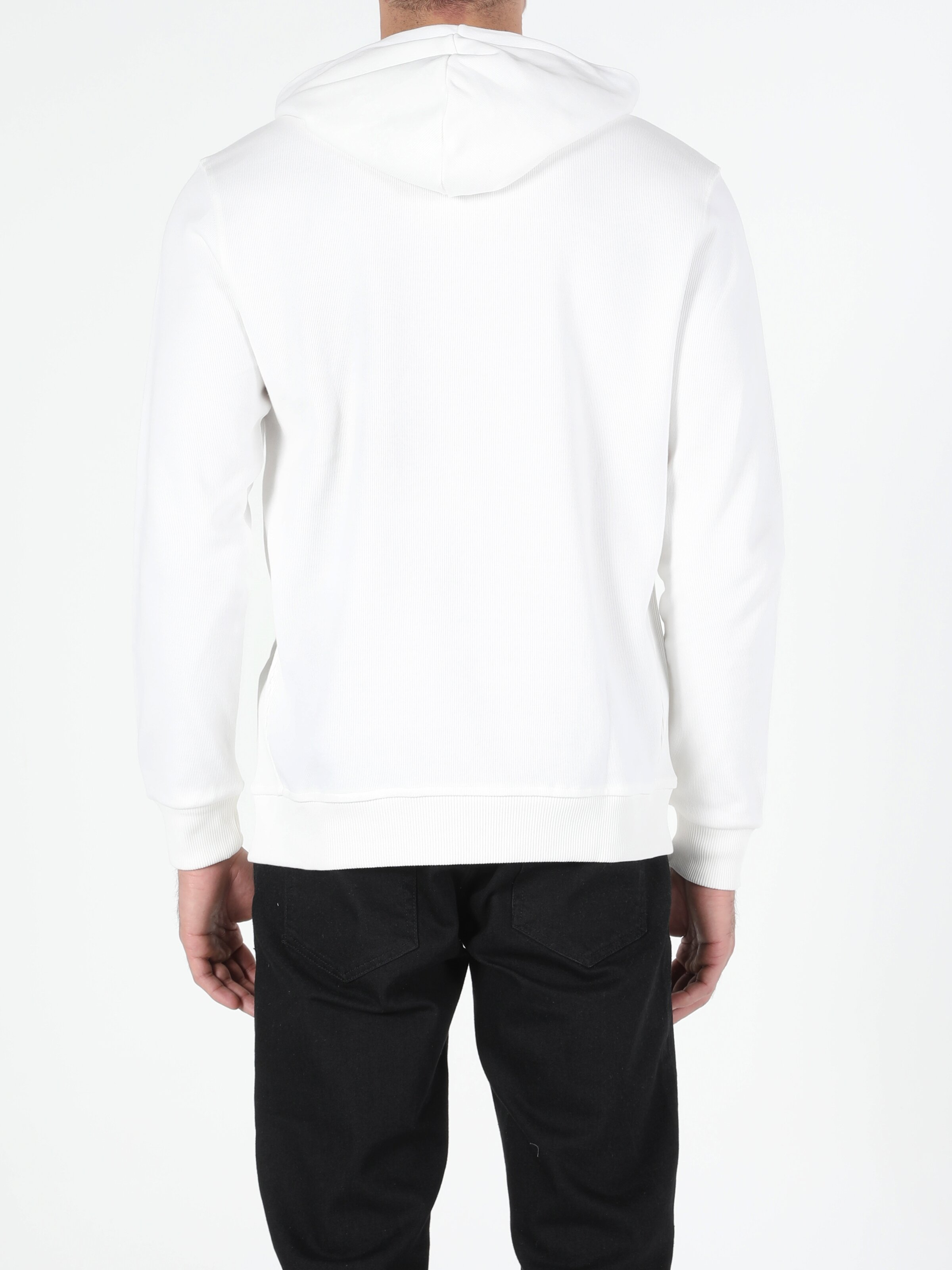 Regular Fir Beyaz Kapişonlu Erkek Sweatshirt