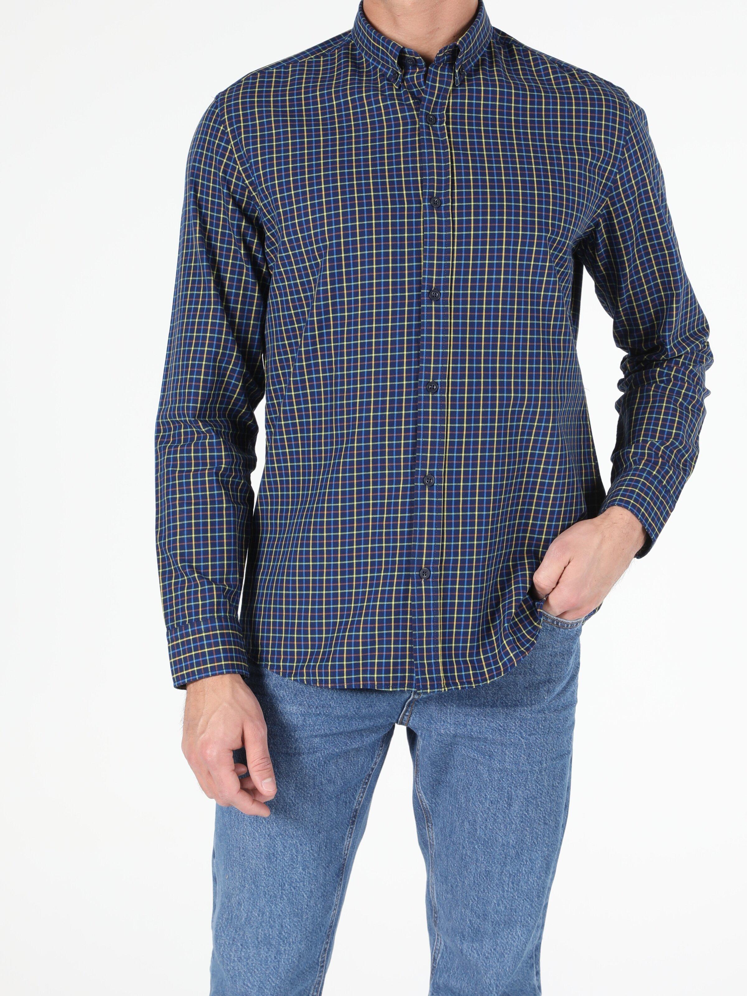 Erkek Uzun Kol İndigo Gömlek