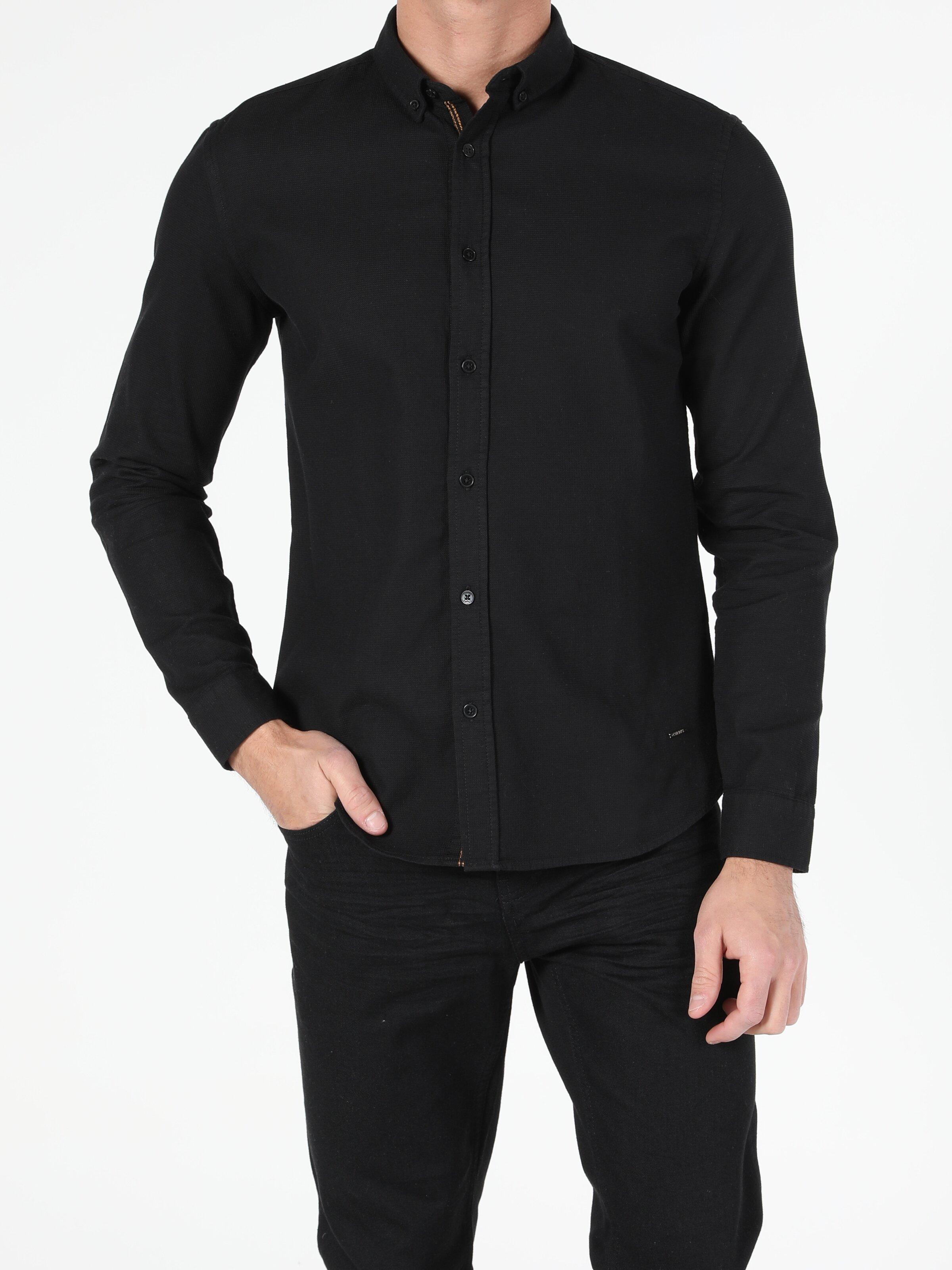 Erkek Uzun Kol Siyah Gömlek