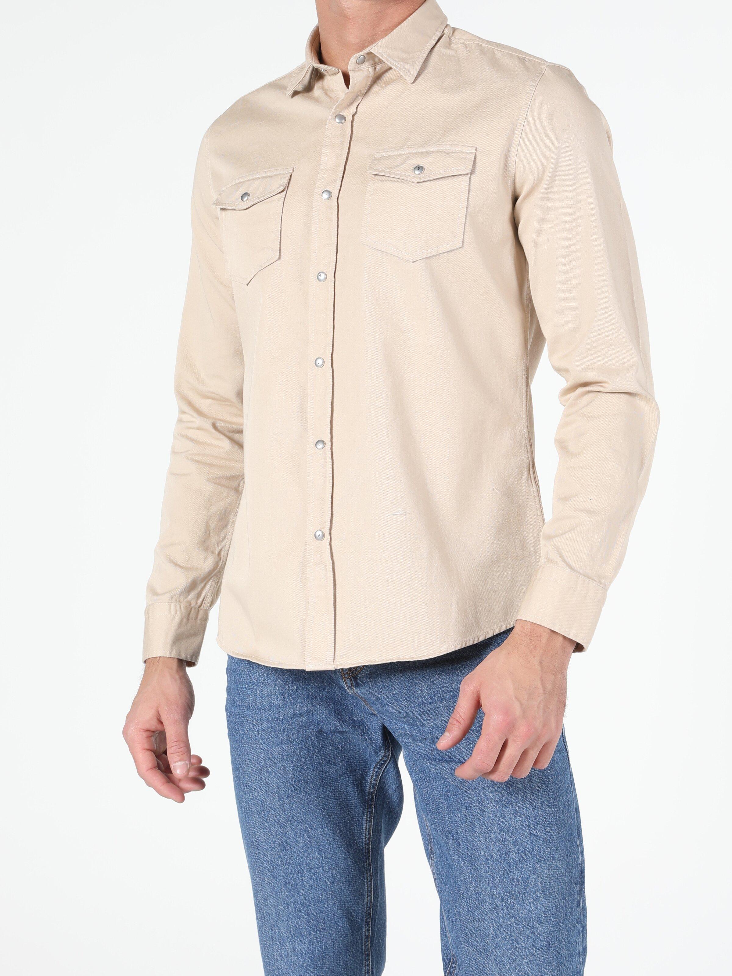 Erkek Uzun Kol Bej Gömlek