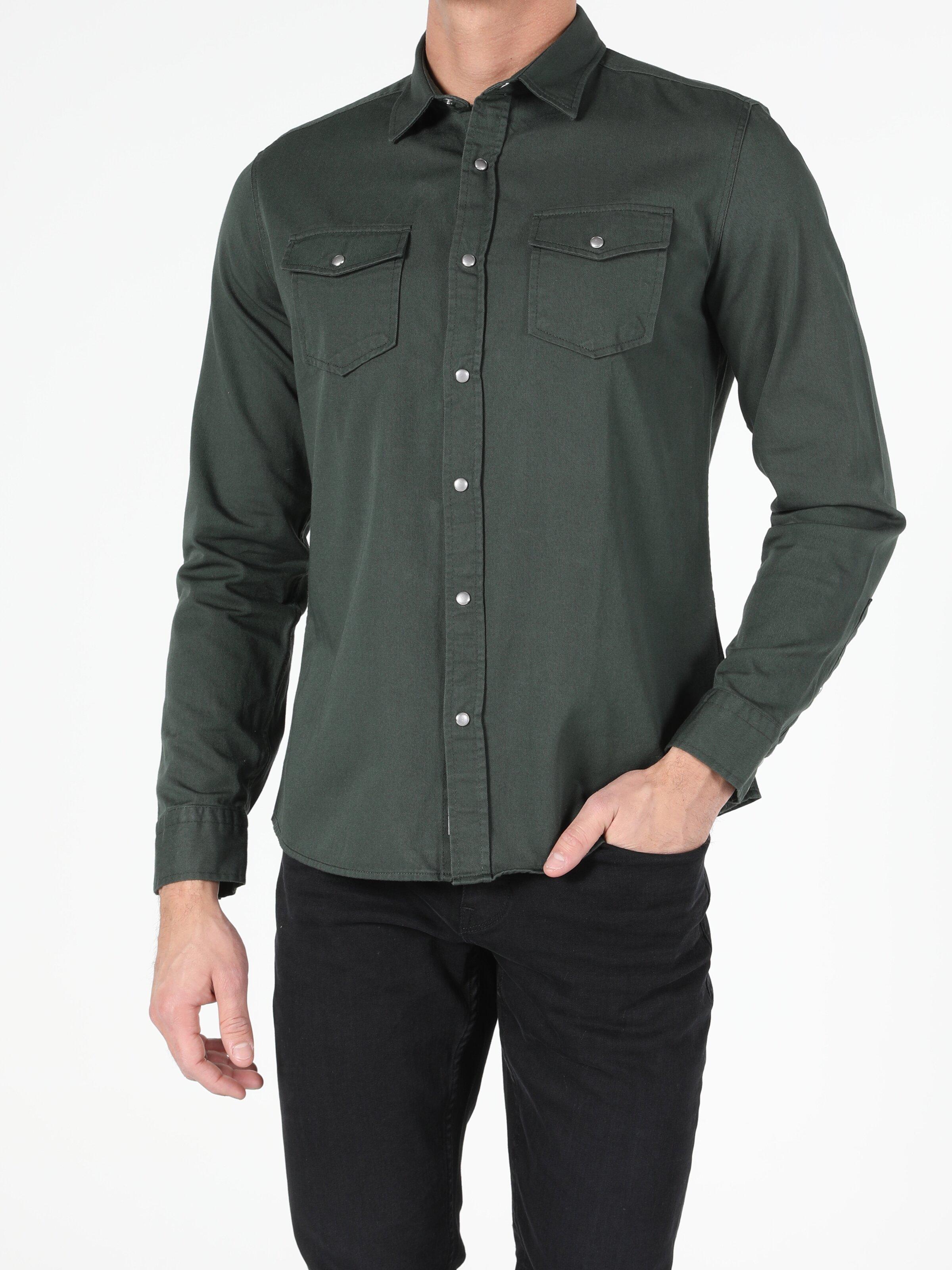 Erkek Uzun Kol Haki Gömlek
