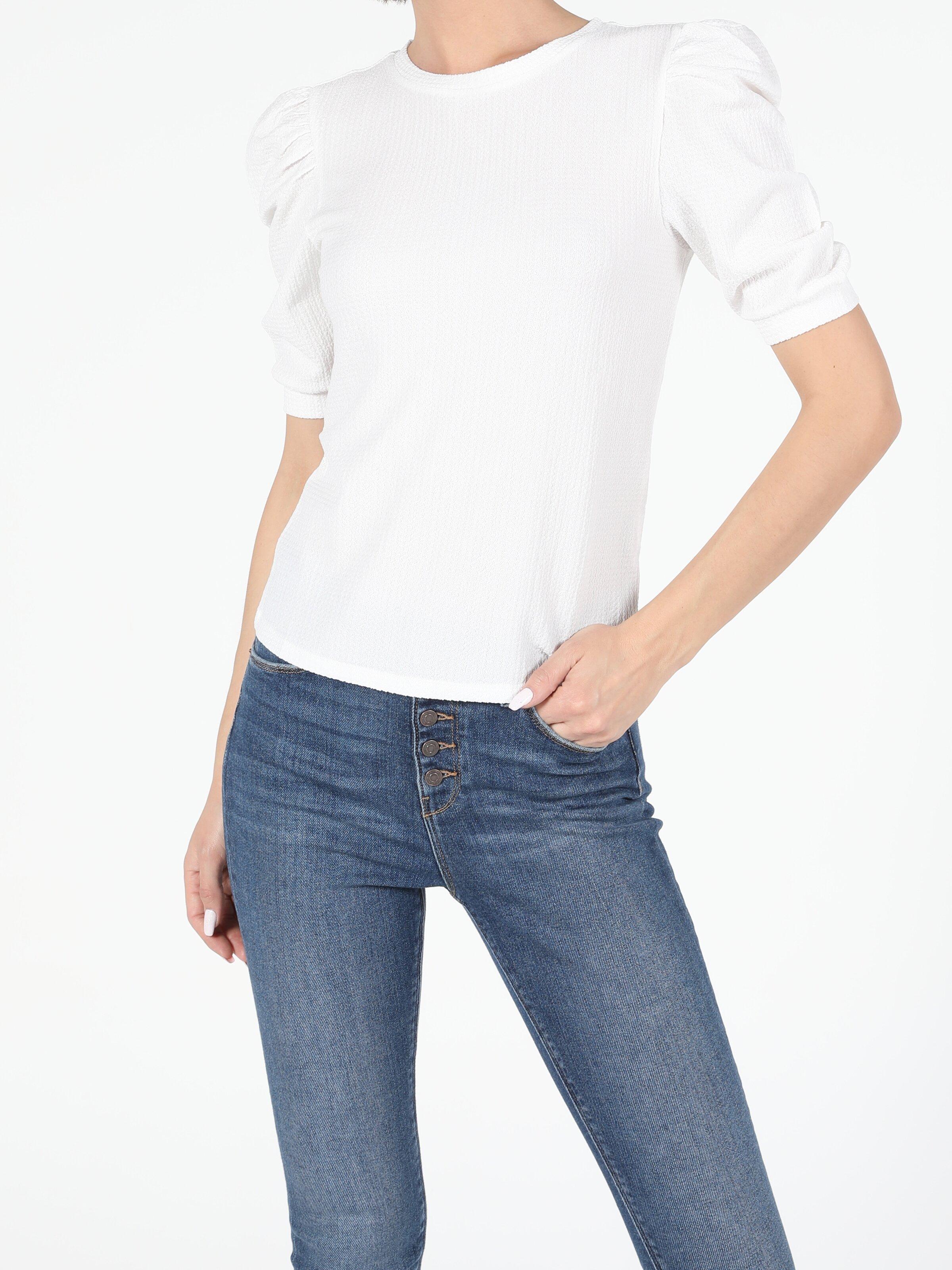 Slim Fit Bisiklet Yaka Örme Kadın Beyaz Karpuz Tişört