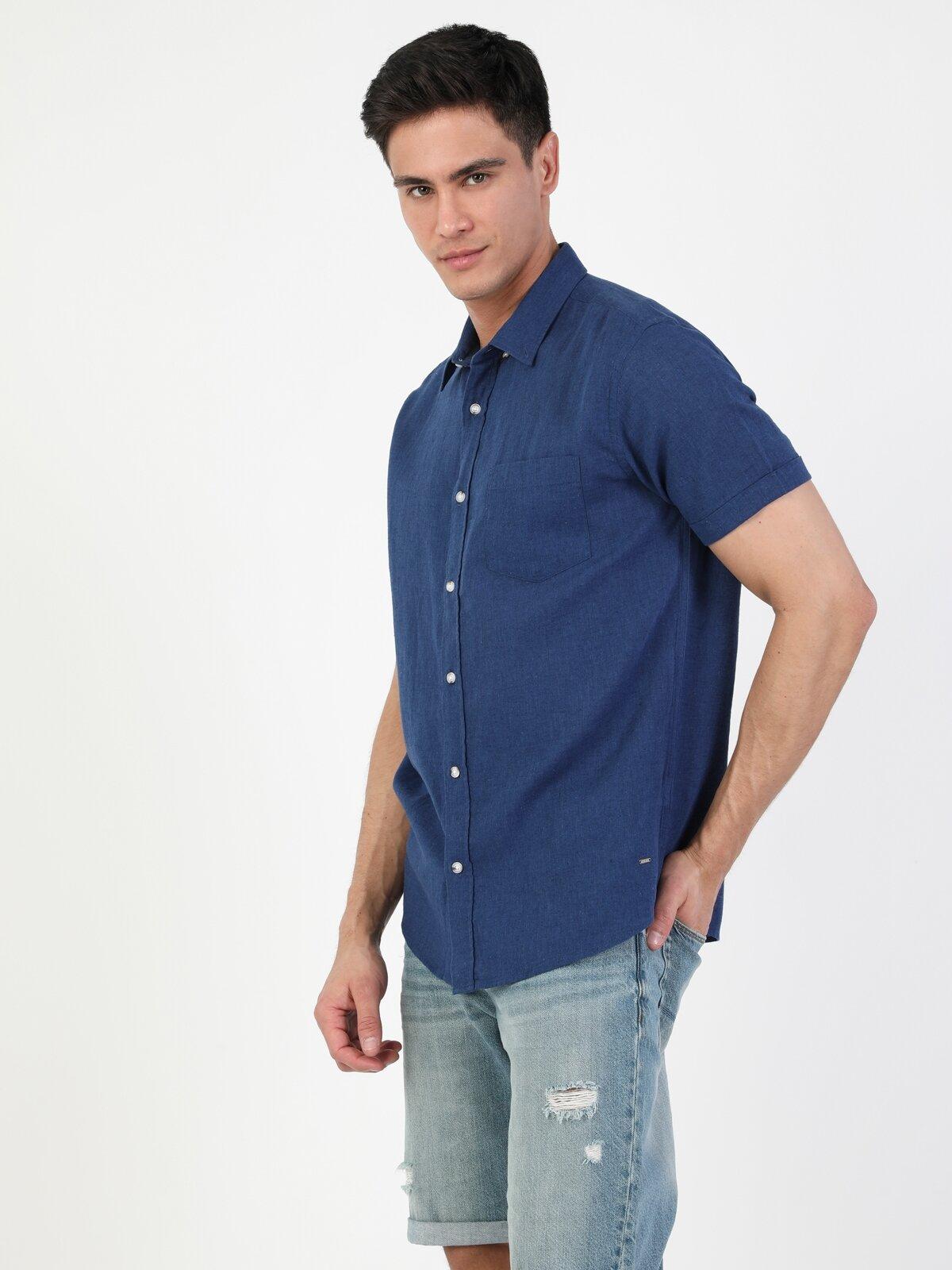 Regular Fit Shirt Neck Erkek Lacivert Kısa Kol Gömlek