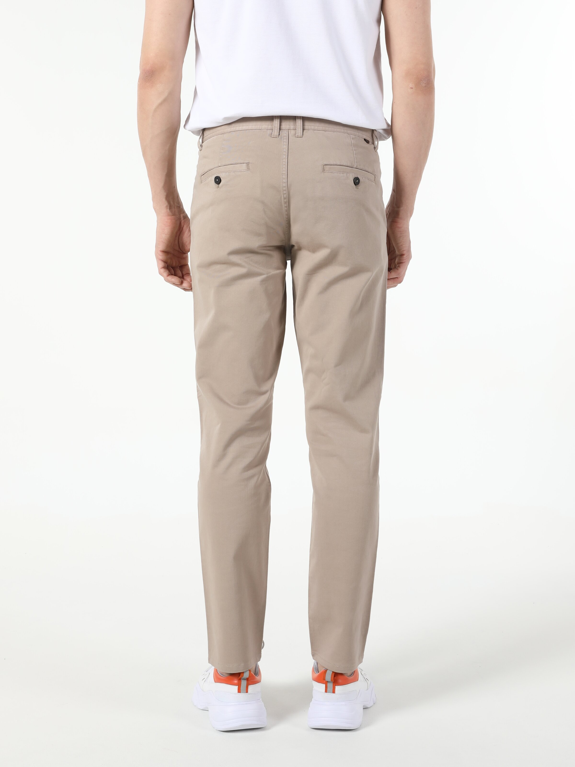 Regular Fit Orta Bel Düz Paça  Erkek Sarı Pantolon