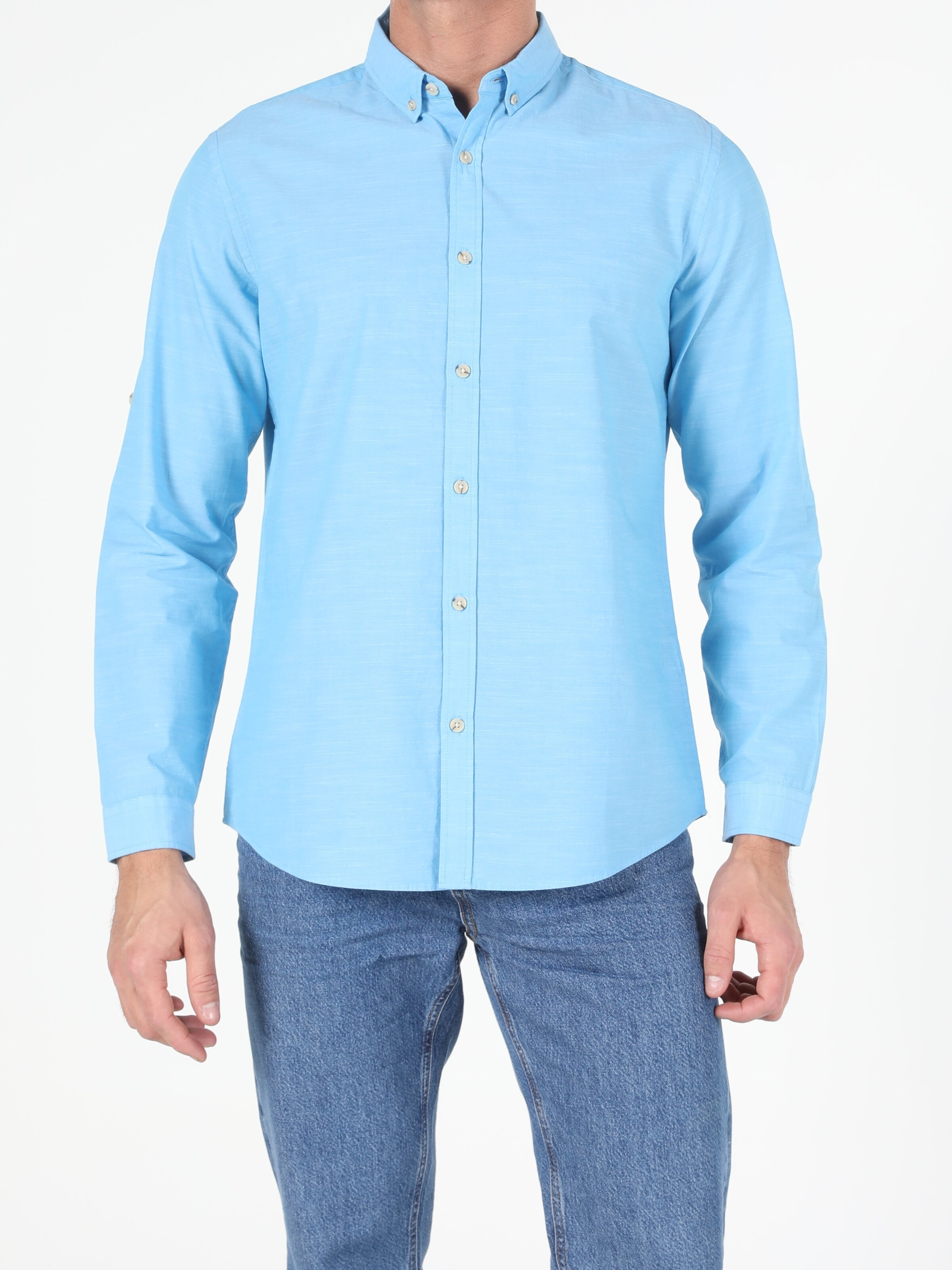 Regular Fit Shirt Neck Erkek Açık Mavi Uzun Kol Gömlek