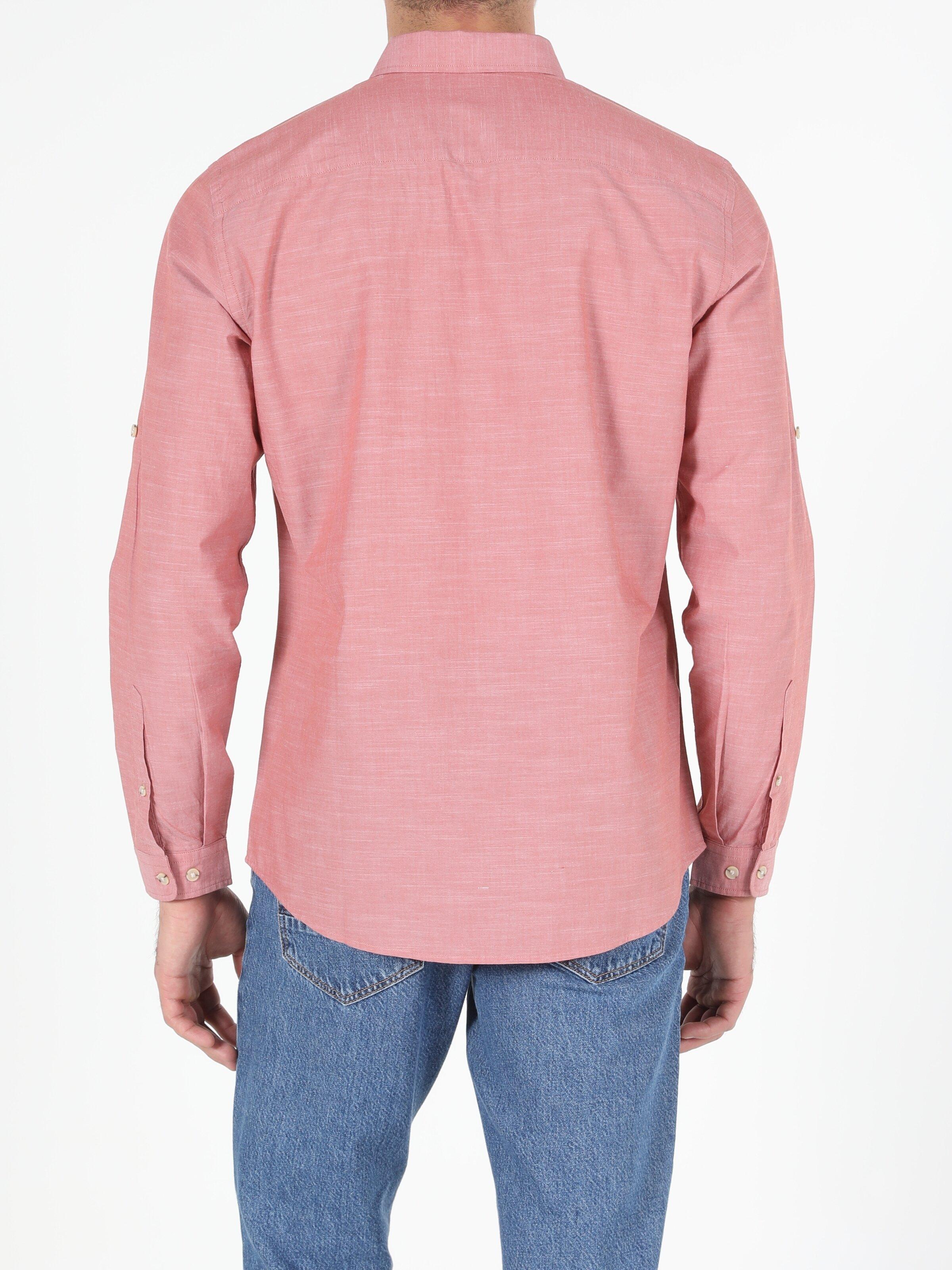 Regular Fit Shirt Neck Erkek Kiremit Uzun Kol Gömlek
