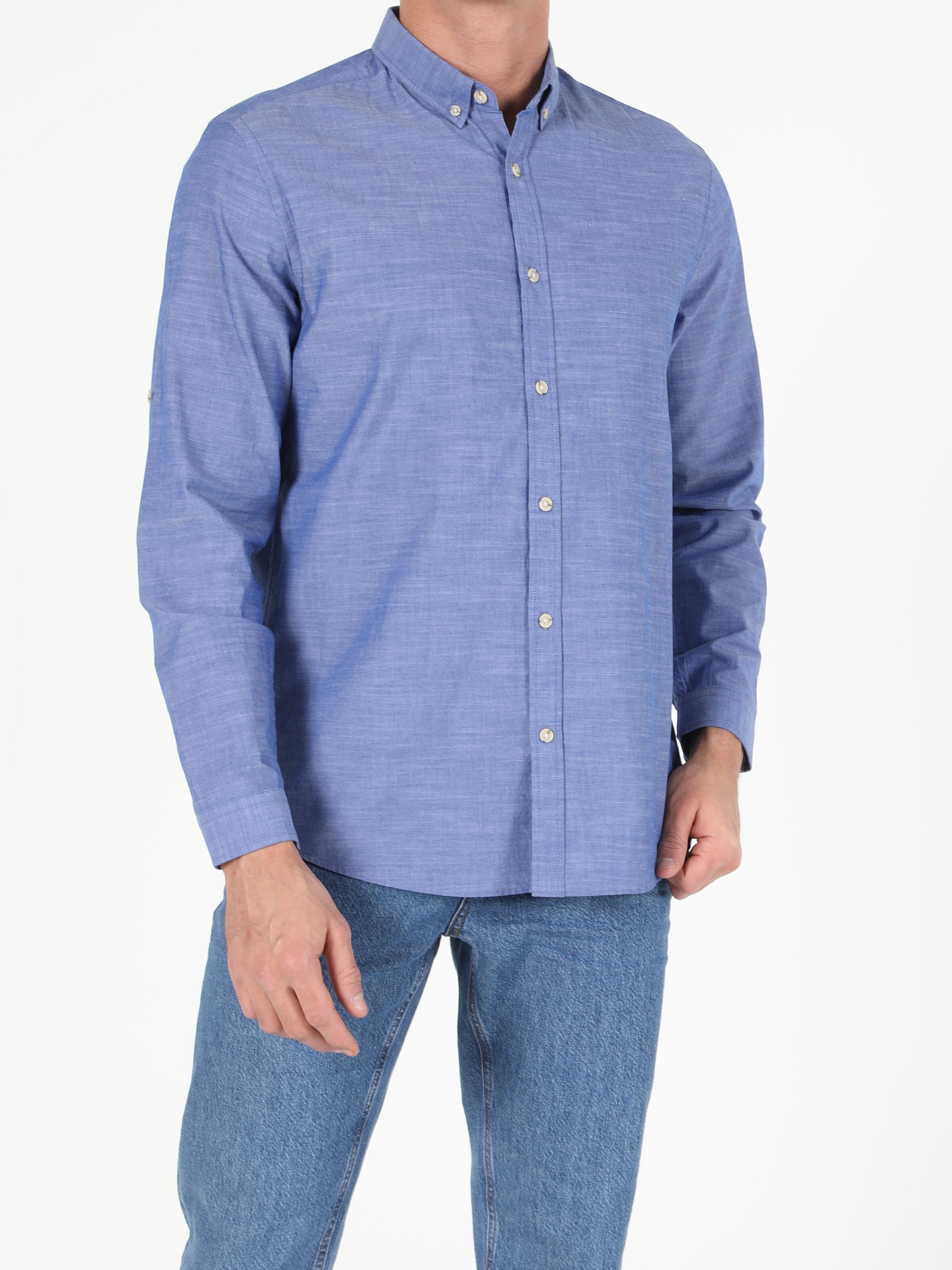 Regular Fit Shirt Neck Erkek Mavi Uzun Kol Gömlek