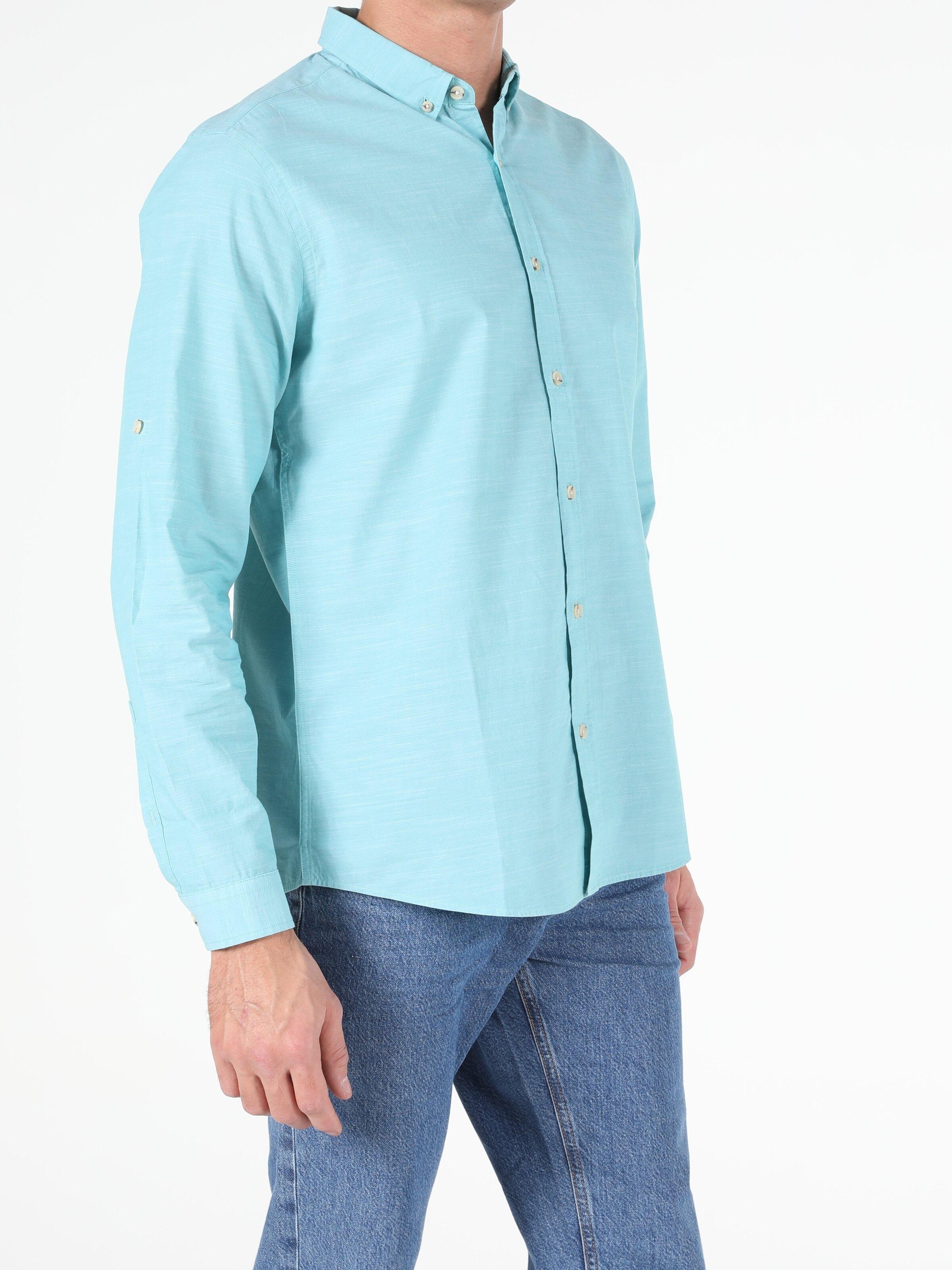 Regular Fit Shirt Neck Erkek Mint Yeşili Uzun Kol Gömlek