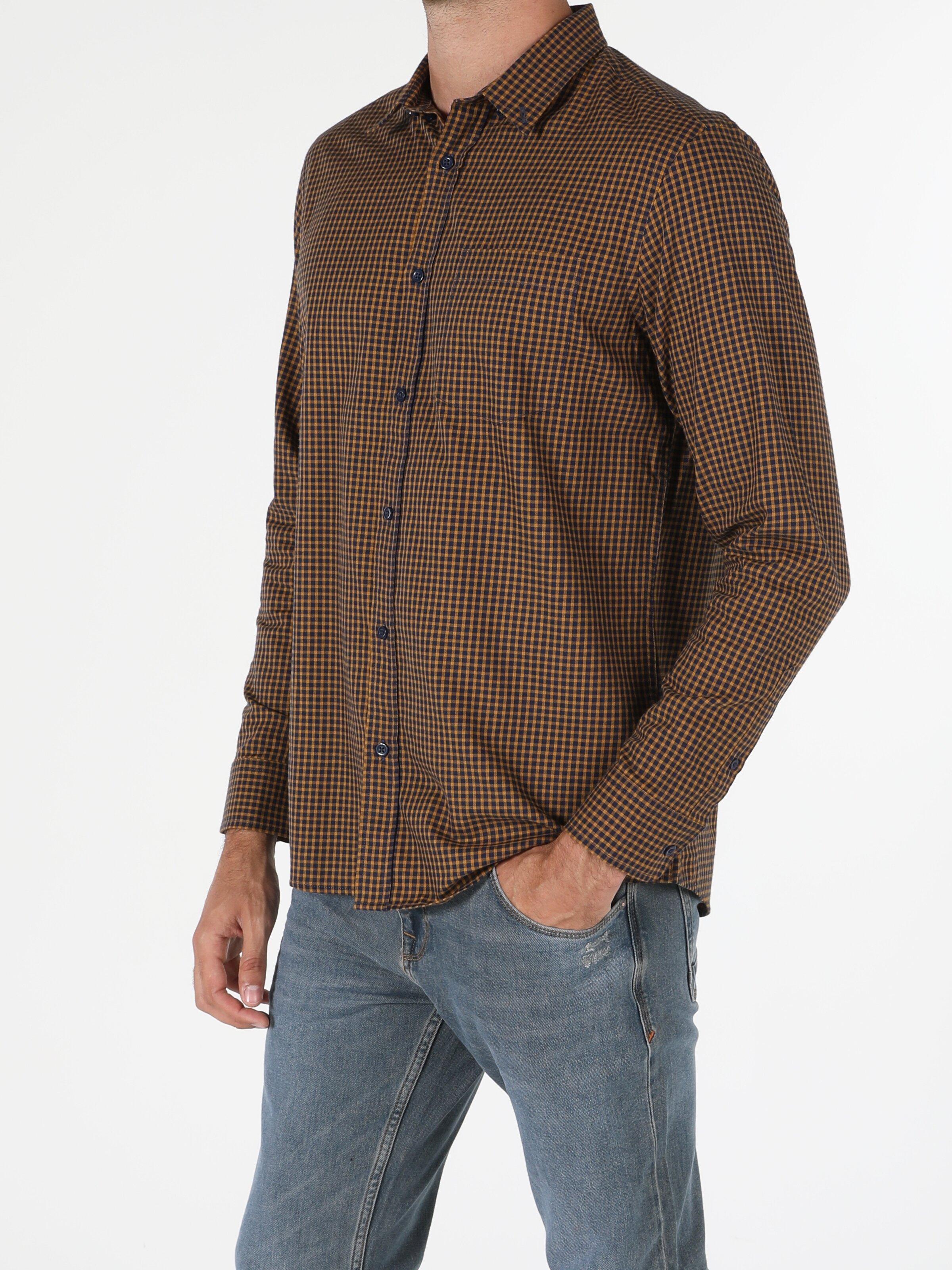 Regular Fit Shirt Neck Erkek Safran Uzun Kol Gömlek