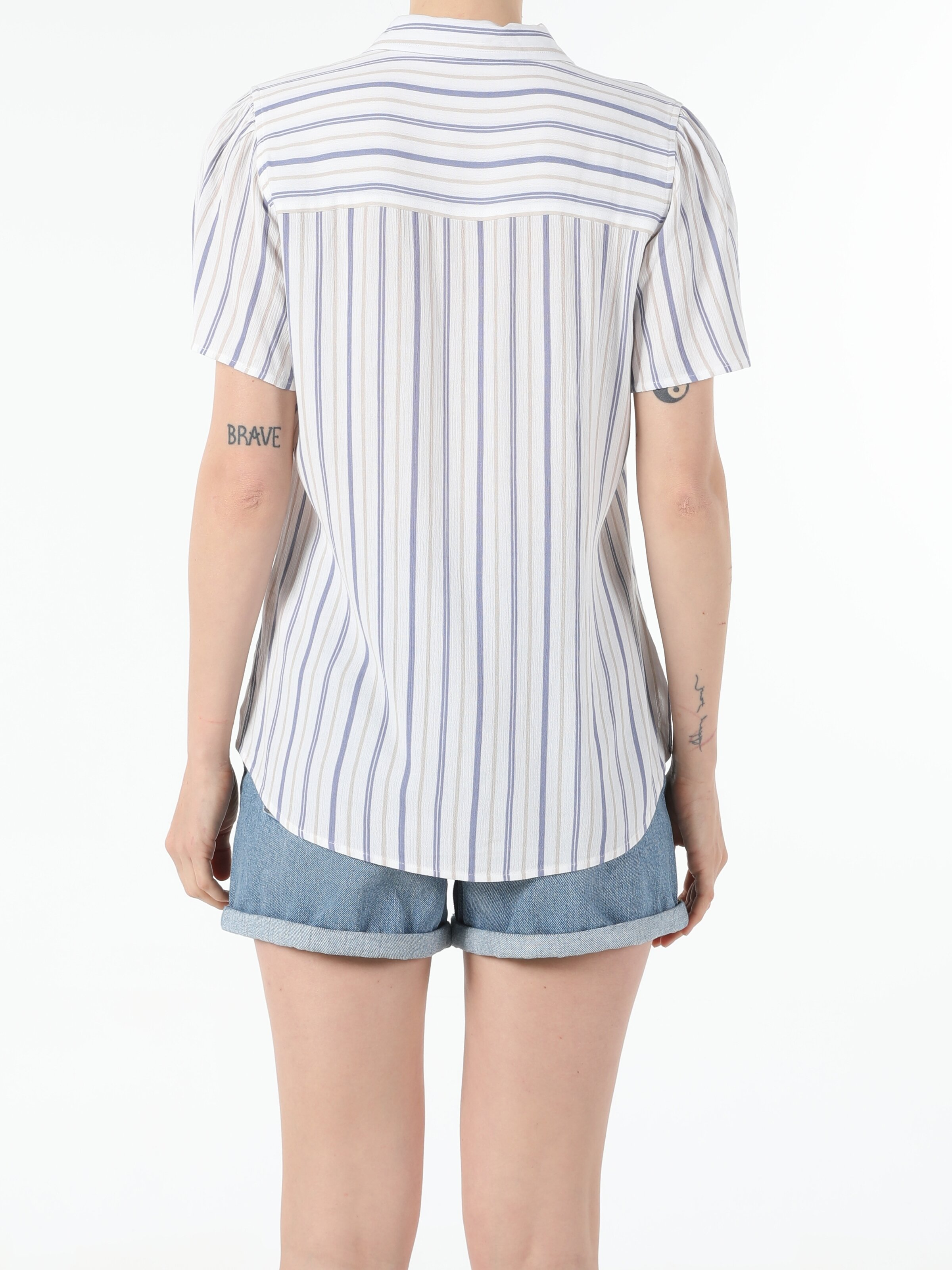 Regular Fit Shirt Neck  Kadın Kısa Kol Gömlek