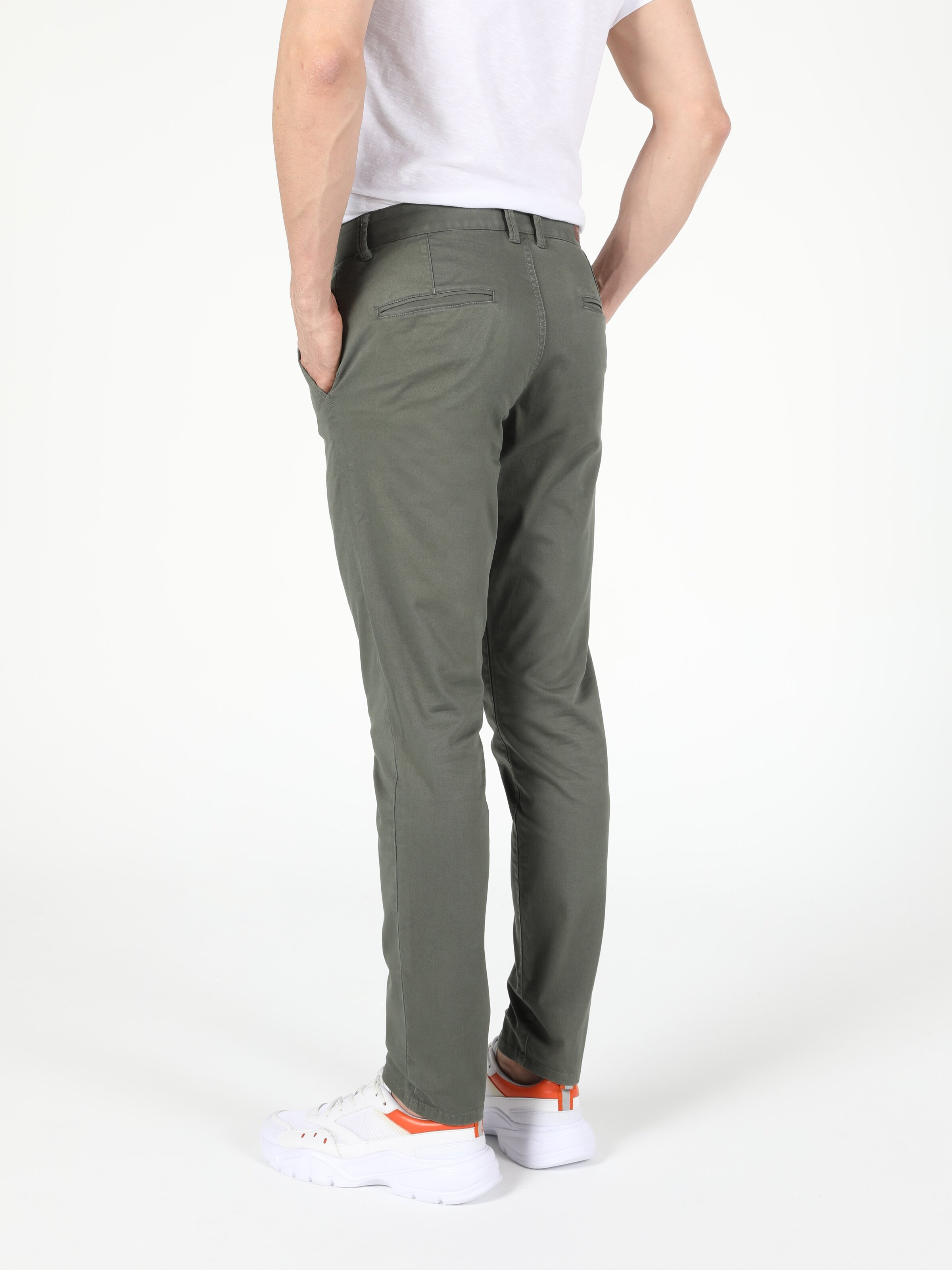 Slim Fit Orta Bel Düz Paça  Erkek Yeşil Pantolon