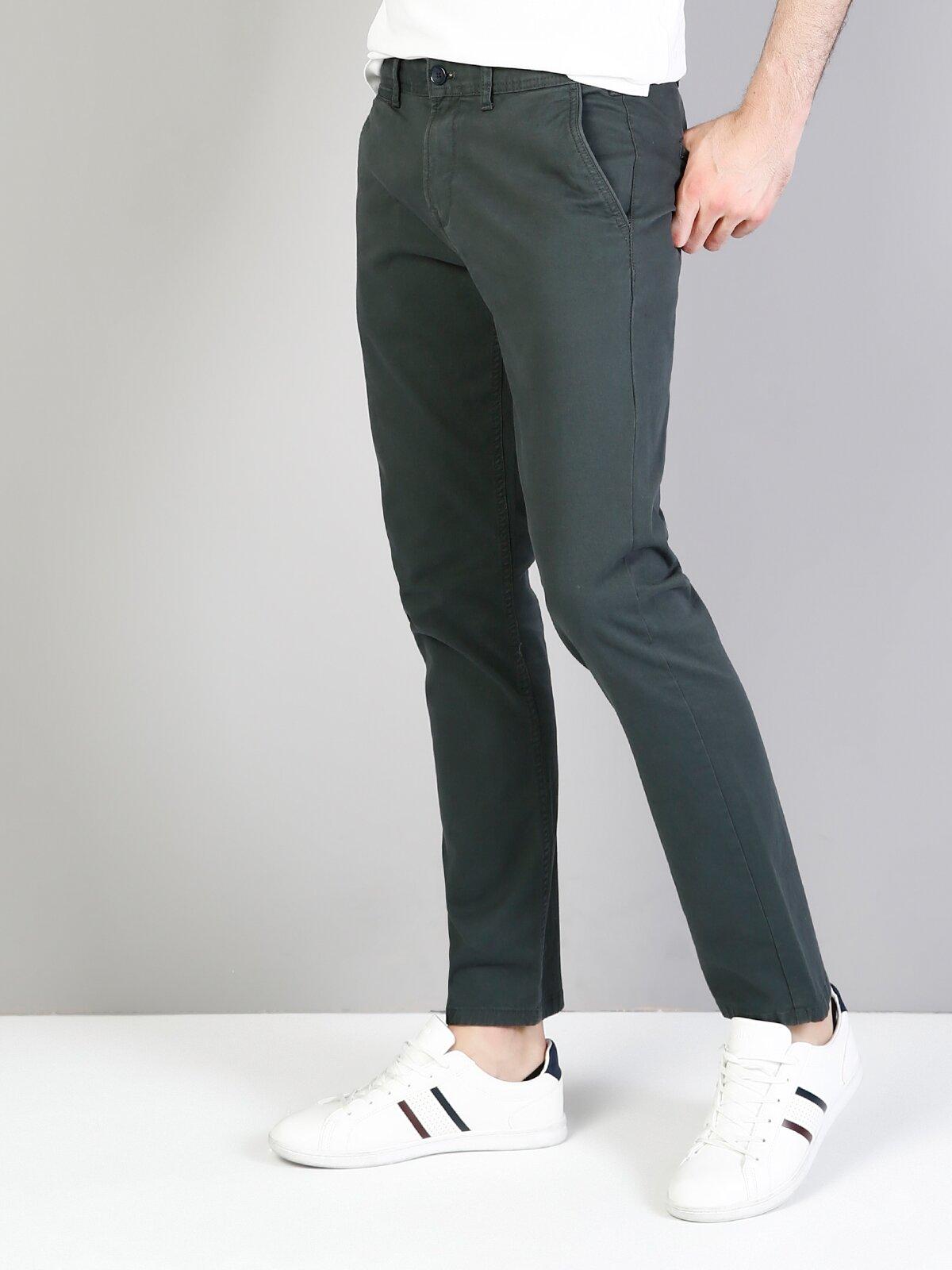 Slim Fit Orta Bel Slim Leg  Erkek Koyu Yeşil Pantolon
