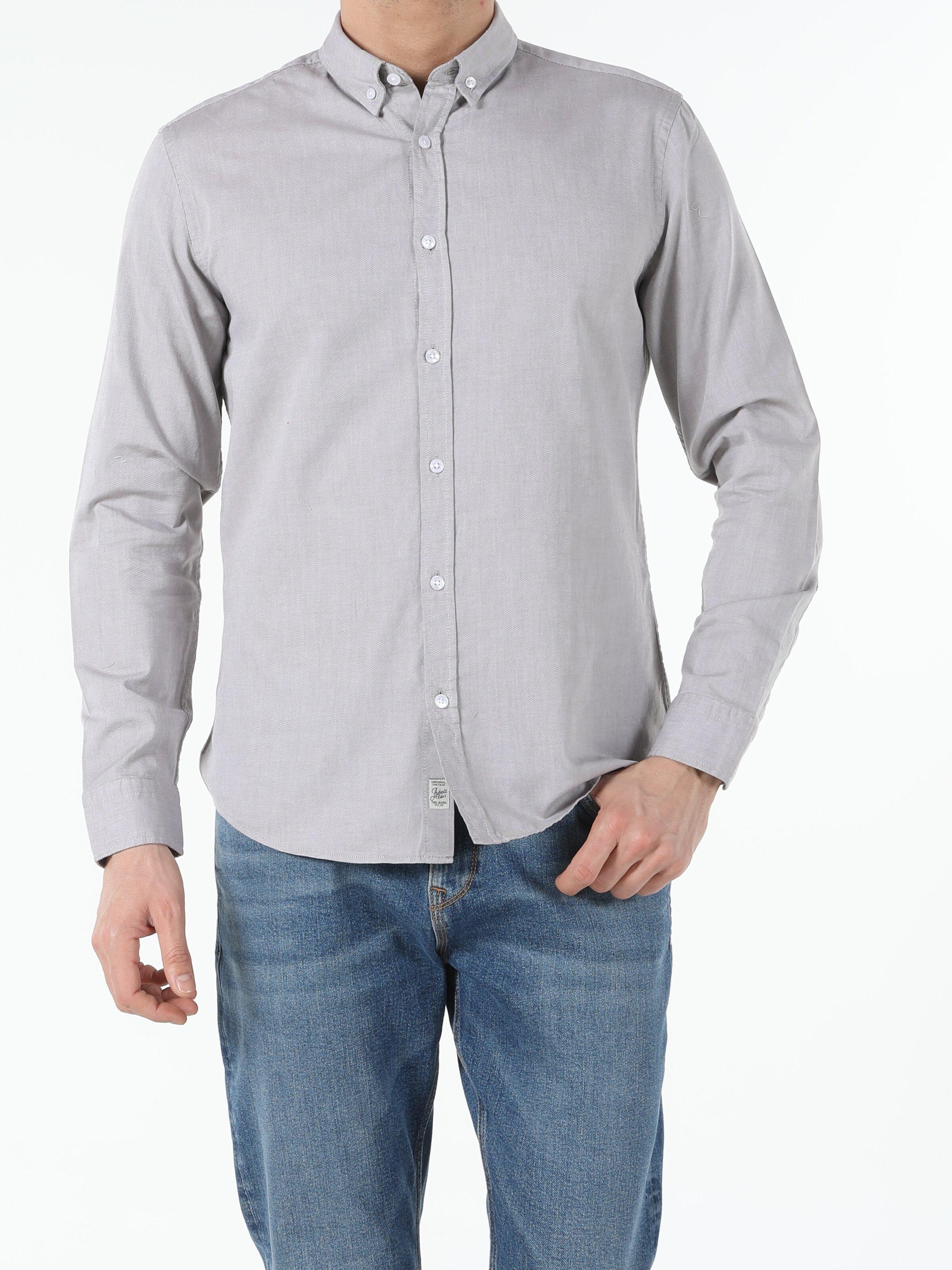 Slim Fit Shirt Neck Erkek Bej Uzun Kol Gömlek