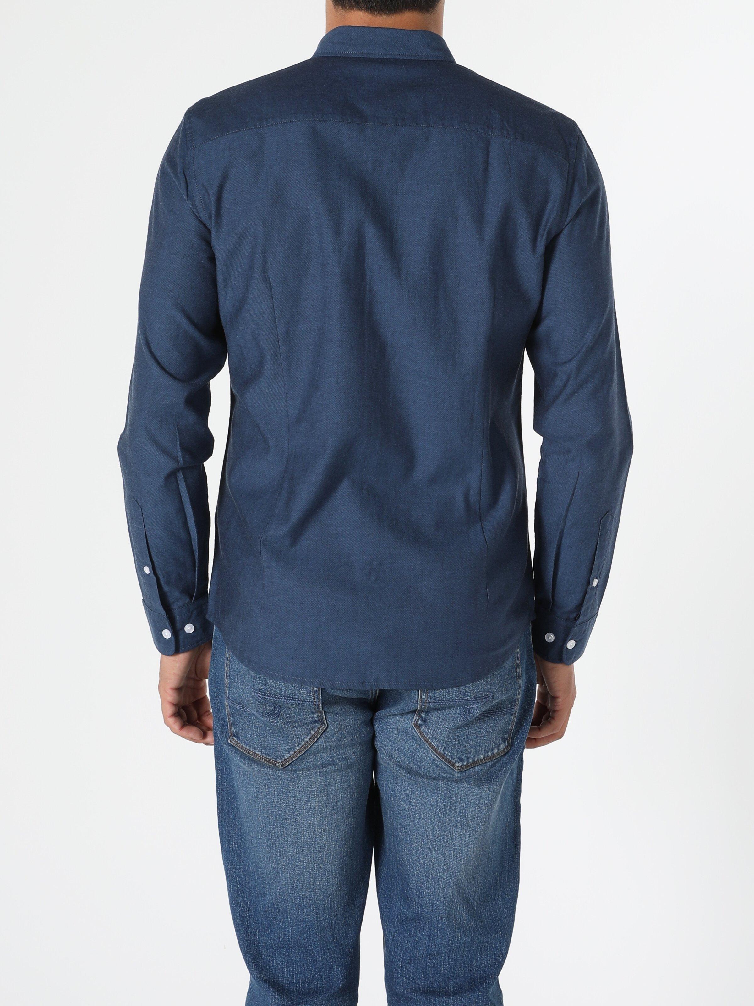 Slim Fit Shirt Neck Erkek Lacivert Uzun Kol Gömlek