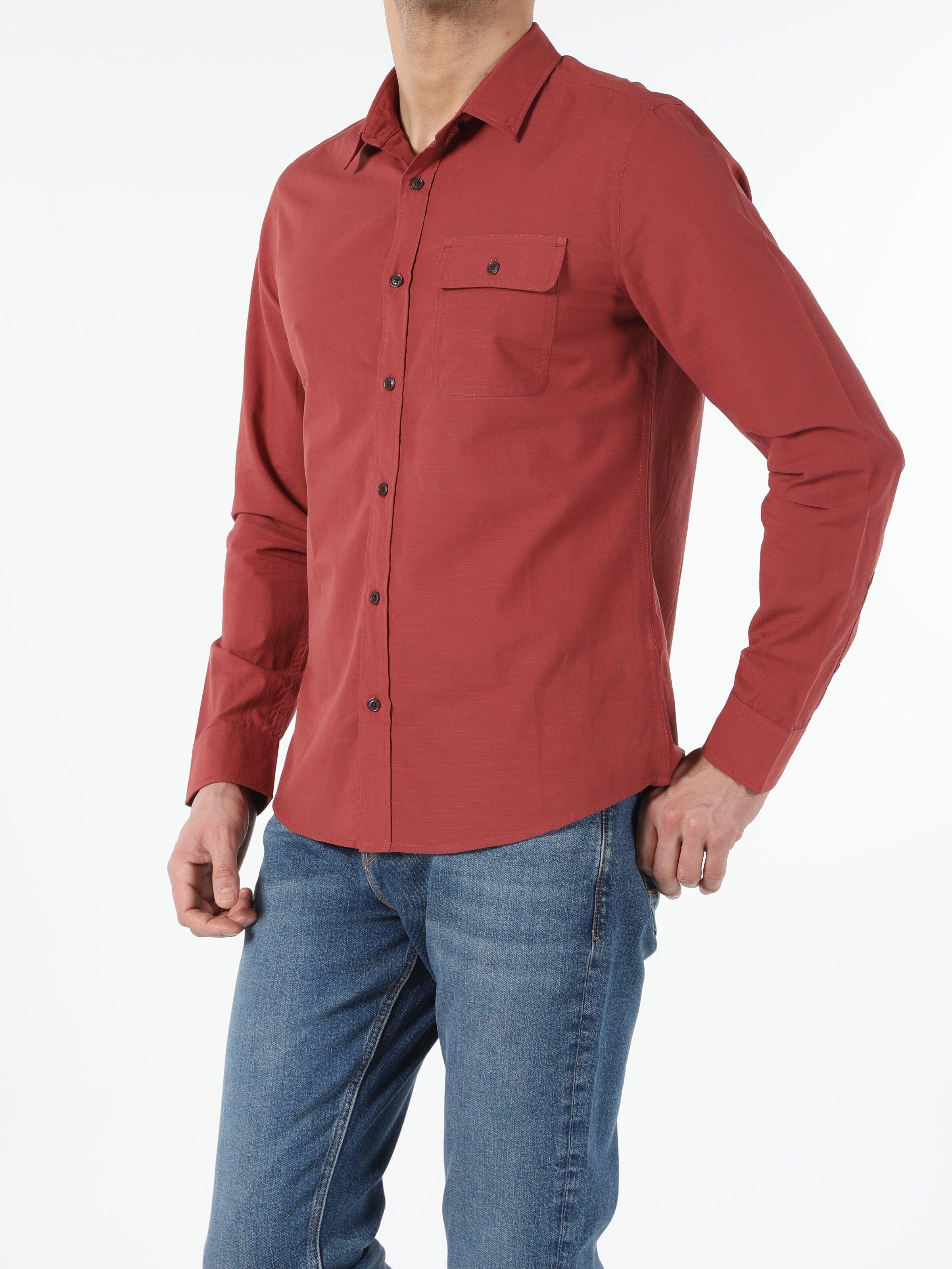 Slim Fit Shirt Neck  Erkek Uzun Kol Gömlek