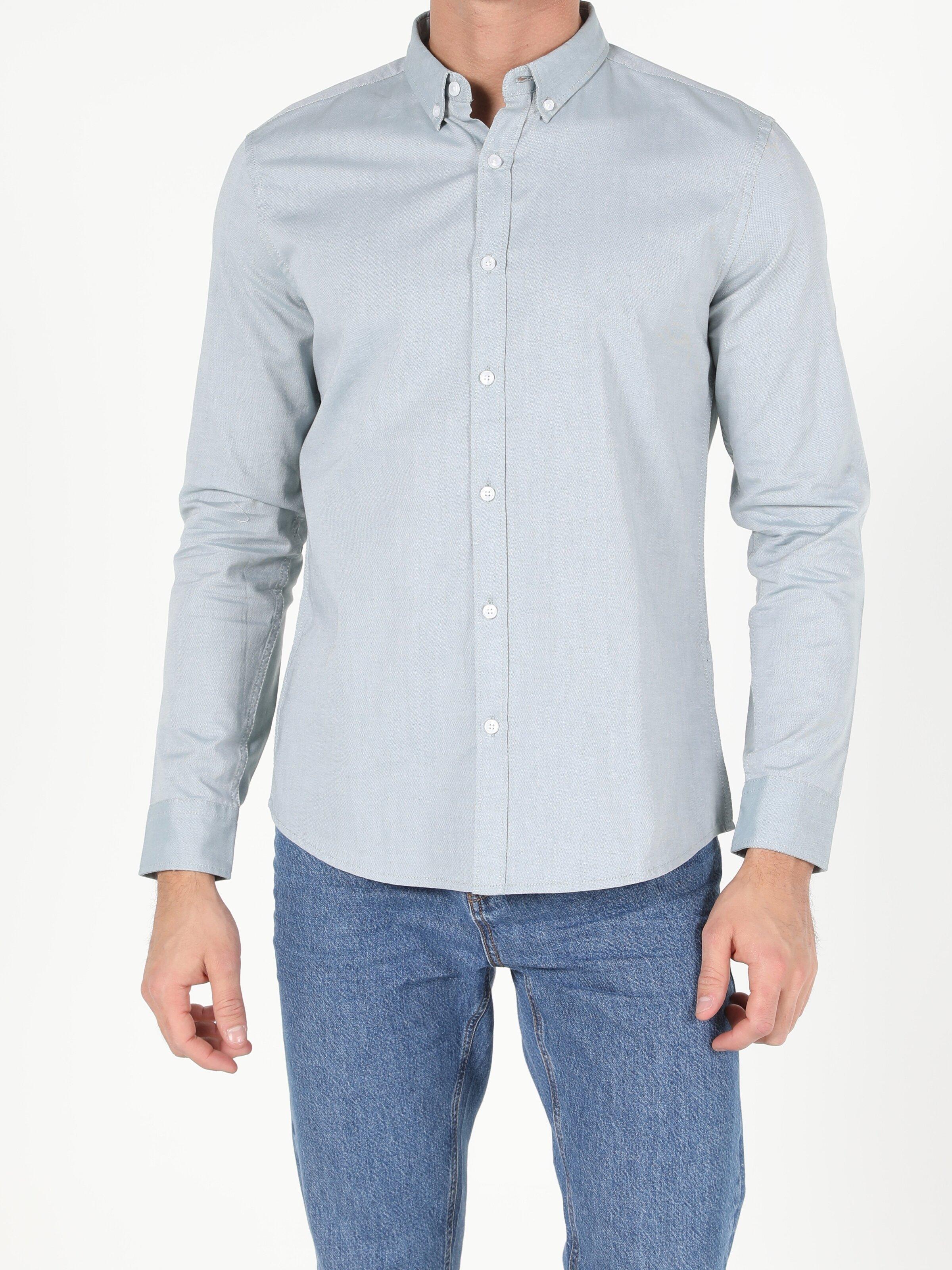 Slim Fit Shirt Neck Erkek Yeşil Uzun Kol Gömlek