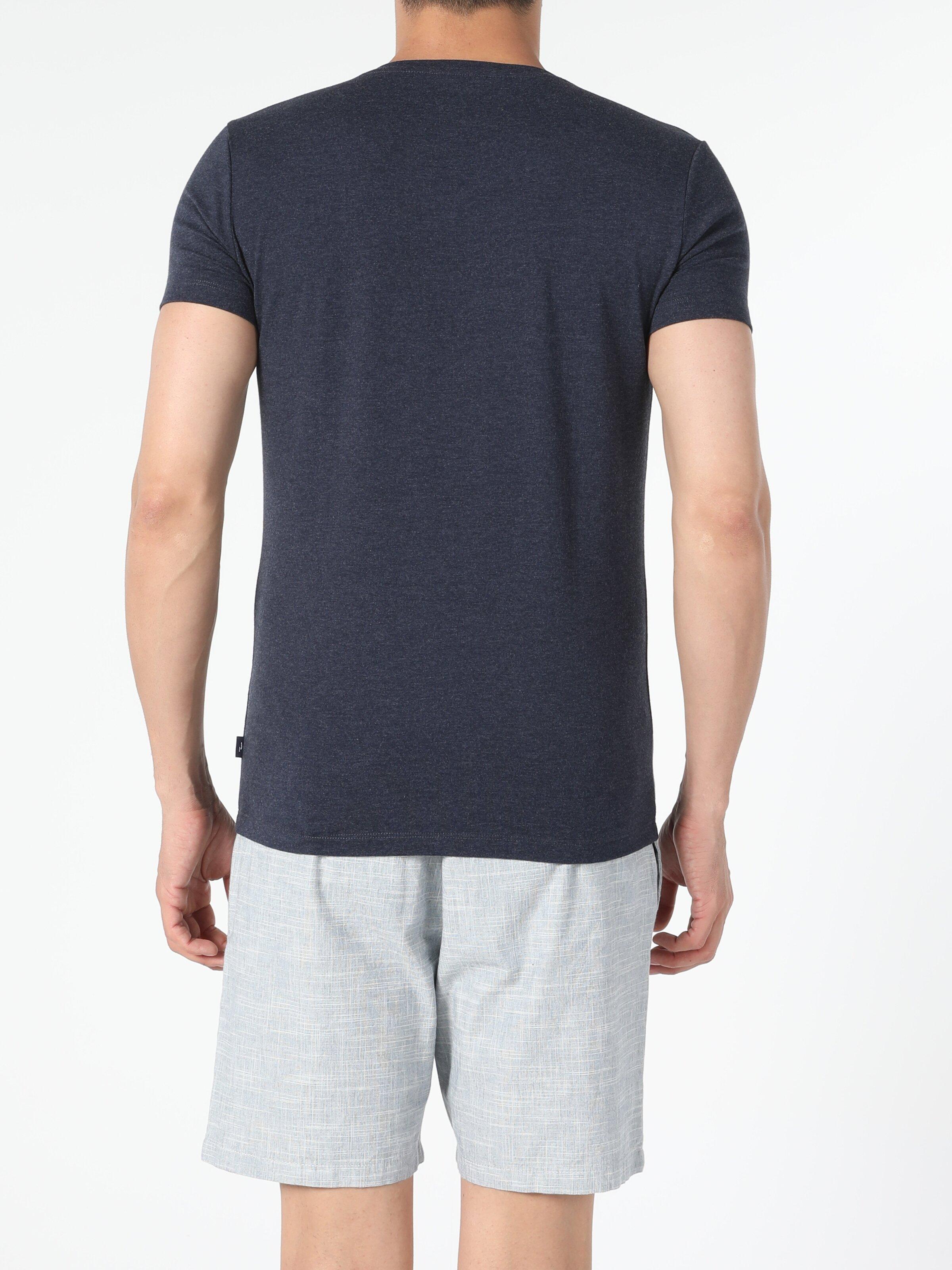 Slim Fit V Yaka Örme Erkek  Kısa Kol Tişört