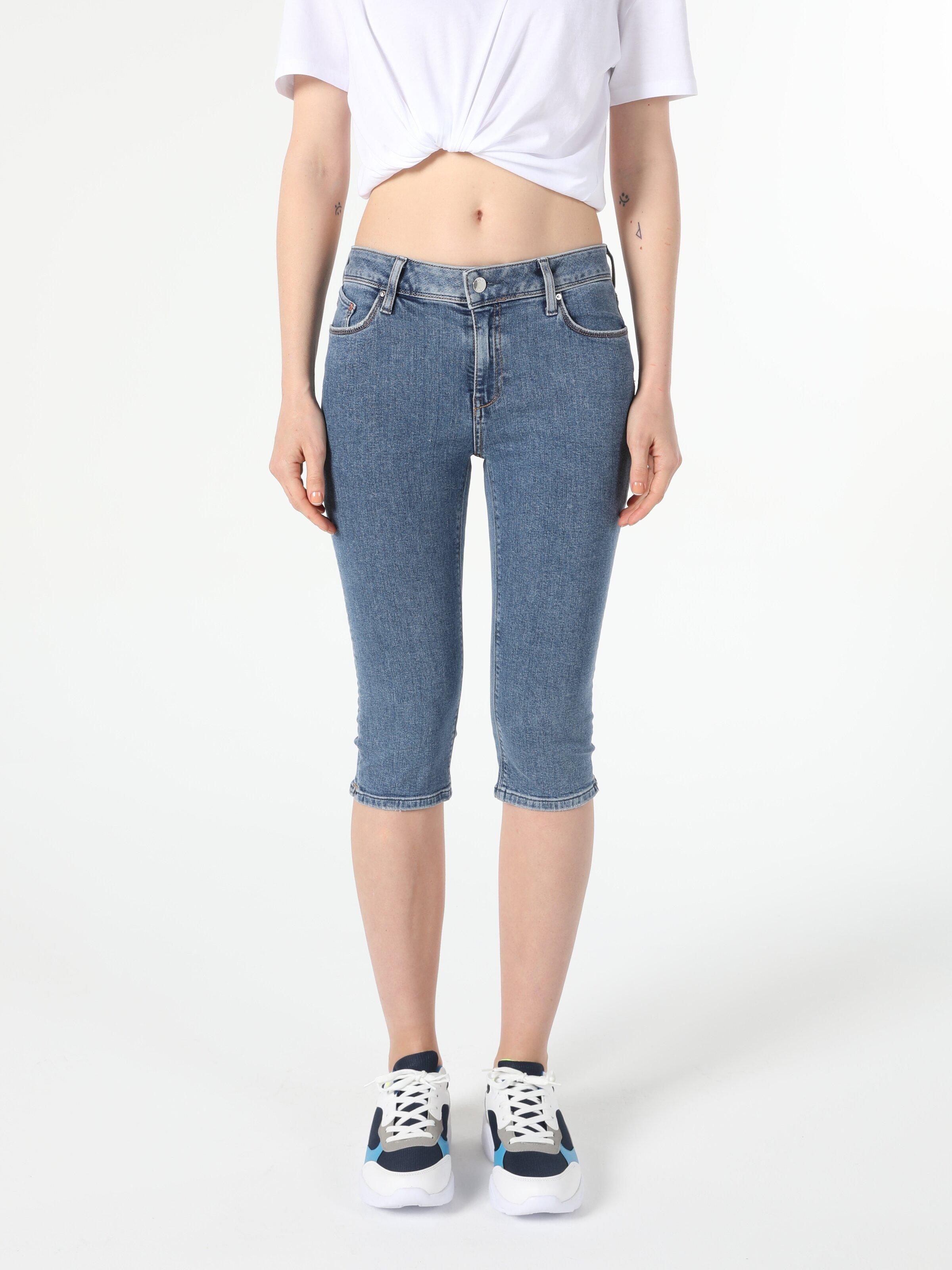 Orta Bel  Super Slim Fit Jean Kadın Jean Şort