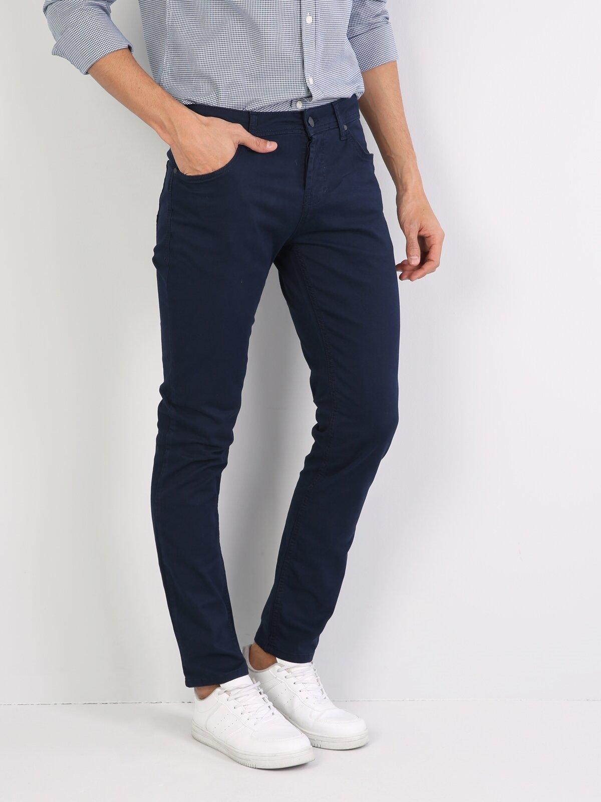 Düz Kesim Normal Bel Mavi Erkek Pantolon