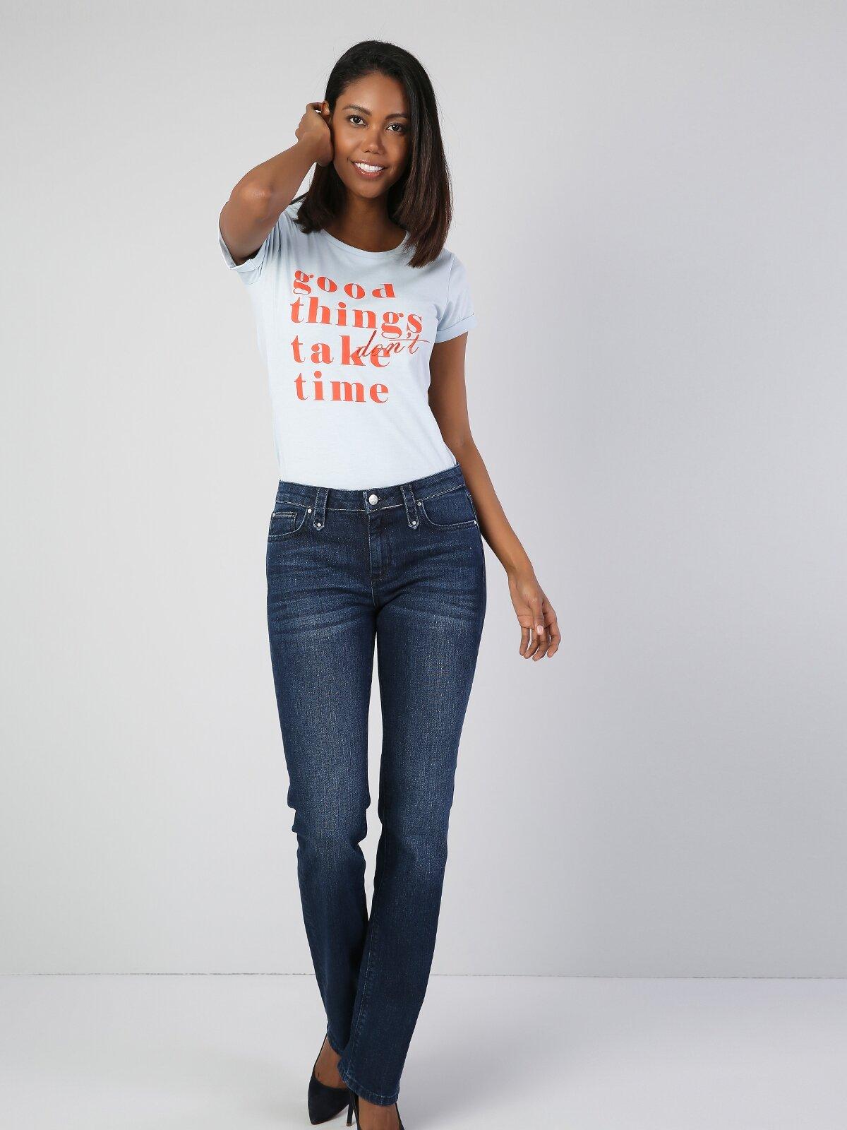 Slim  Açık Mavi Kadın Kısa Kol Tişört