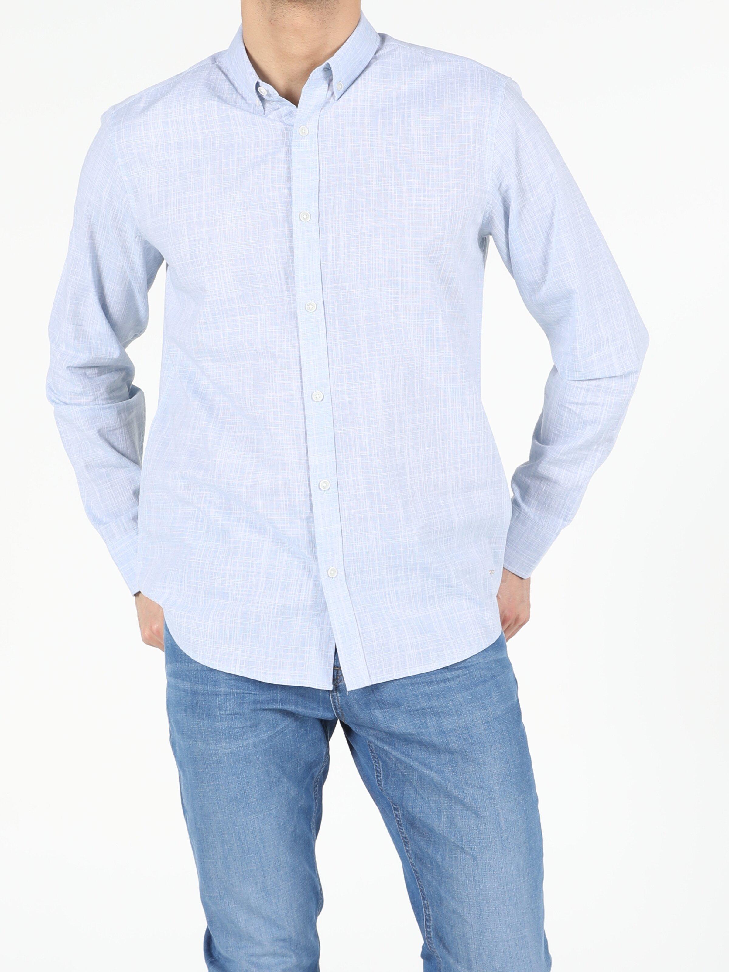 Açık Mavi Regular Fit Shirt Neck  Erkek Uzun Kol Gömlek