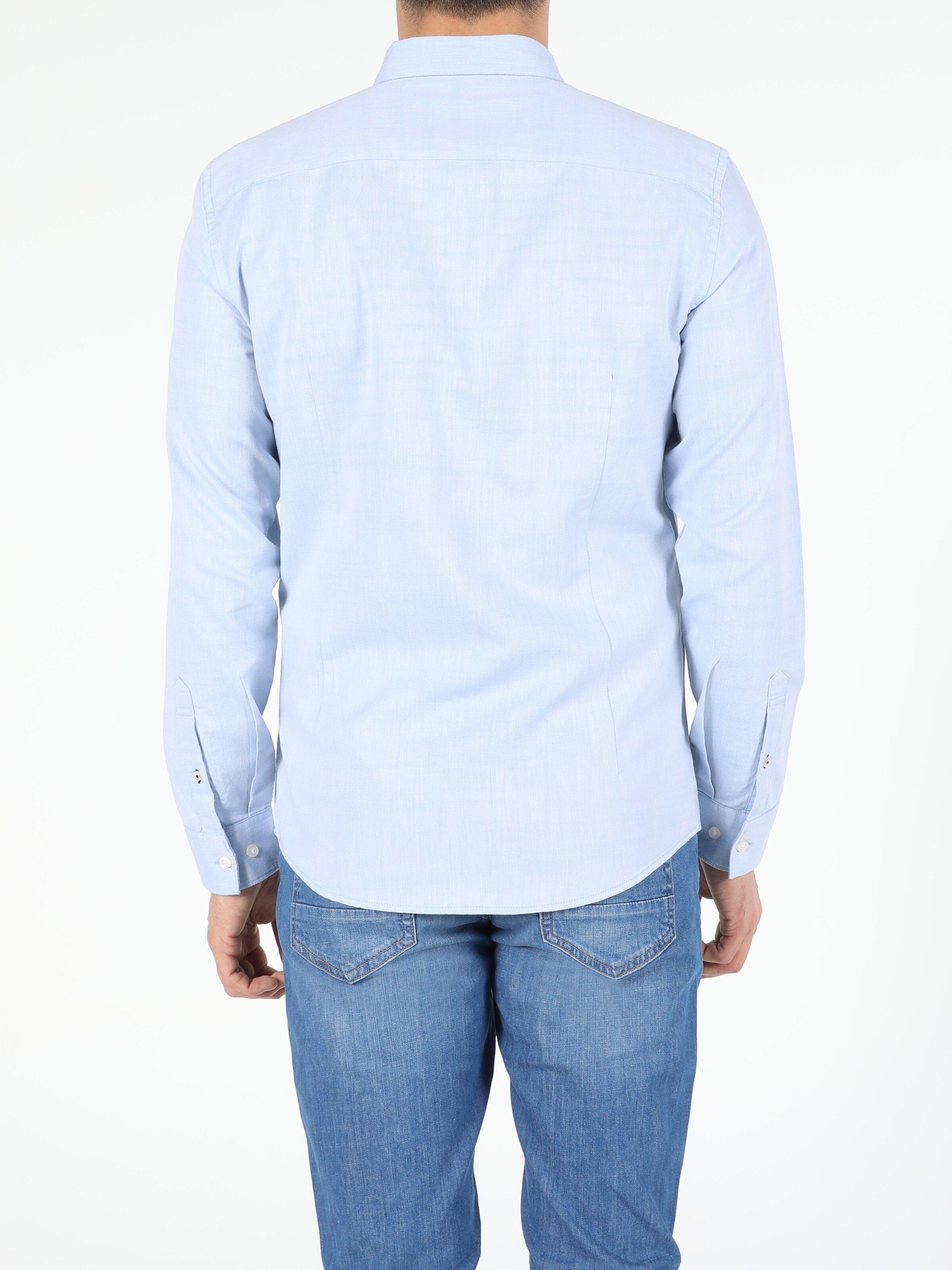Açık Mavi Slim Fit Shirt Neck  Erkek Uzun Kol Gömlek