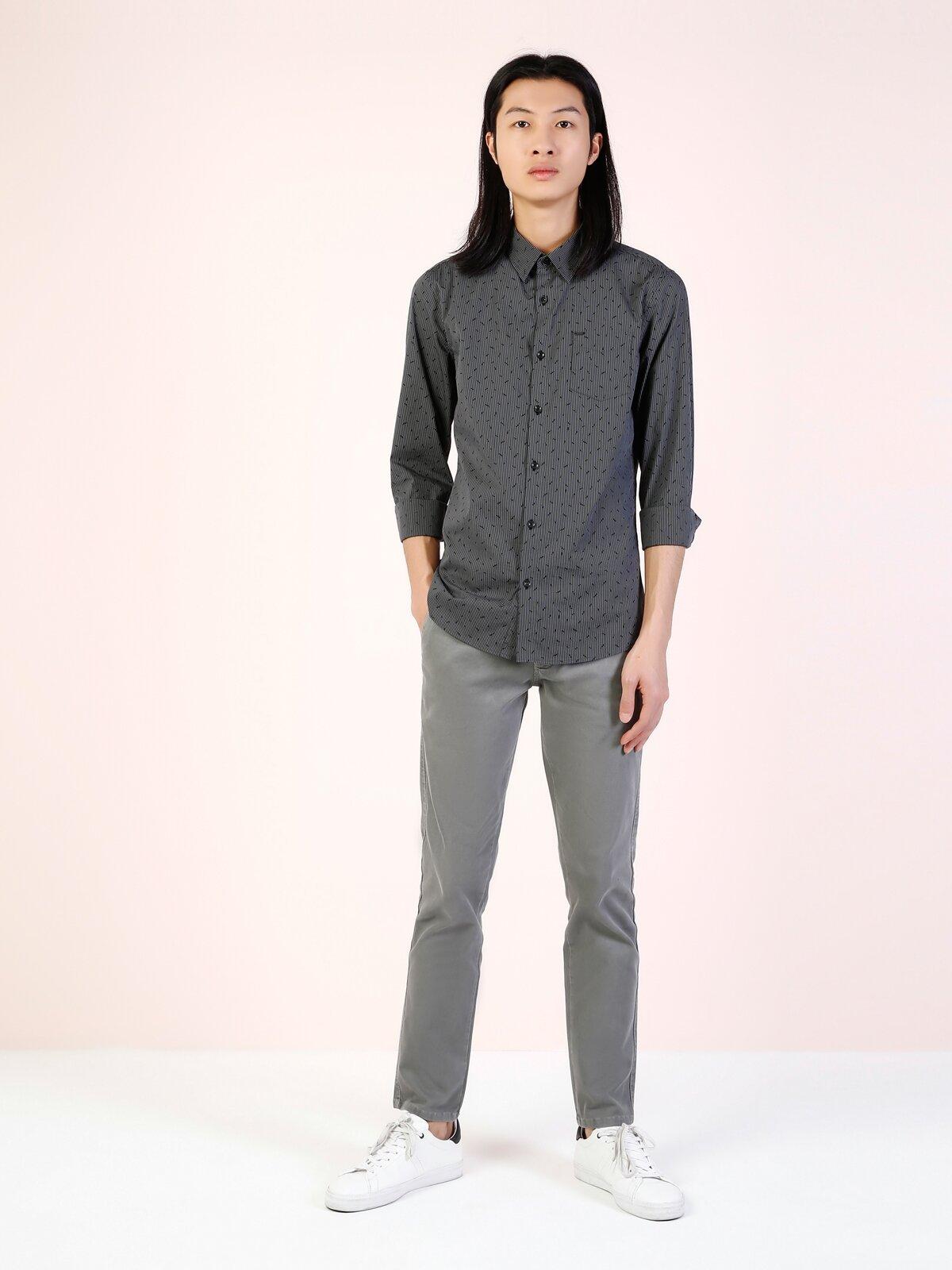 Modern Fit  Erkek Antrasit Uzun Kol Gömlek