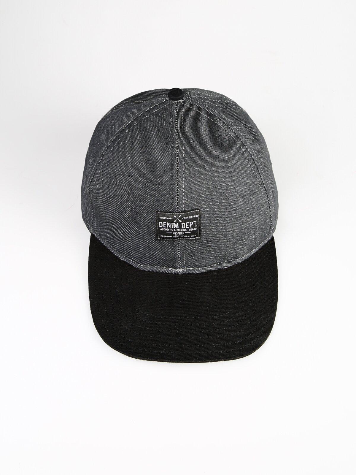 Denim Yazı Detaylı Gri Erkek Şapka