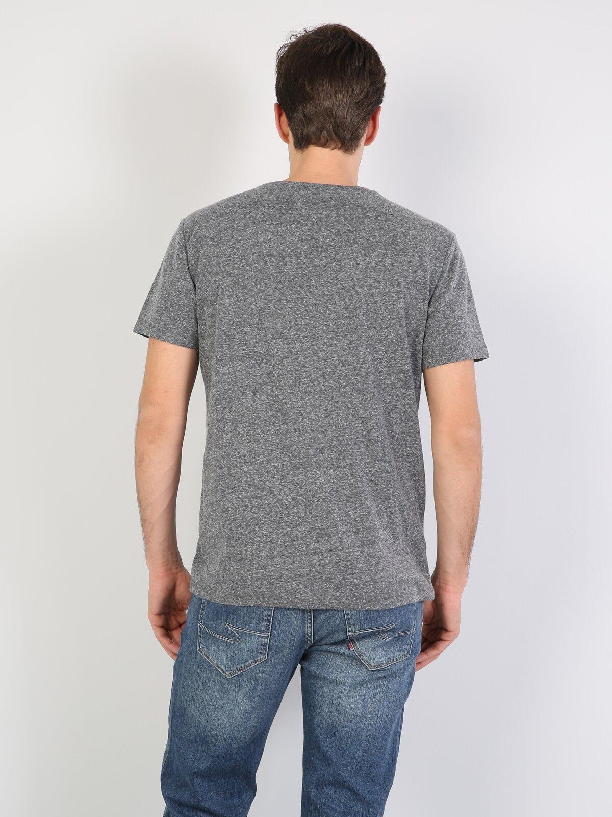 Antra Melanj Yuvarlak Yaka Erkek Kısa Kol Tişört