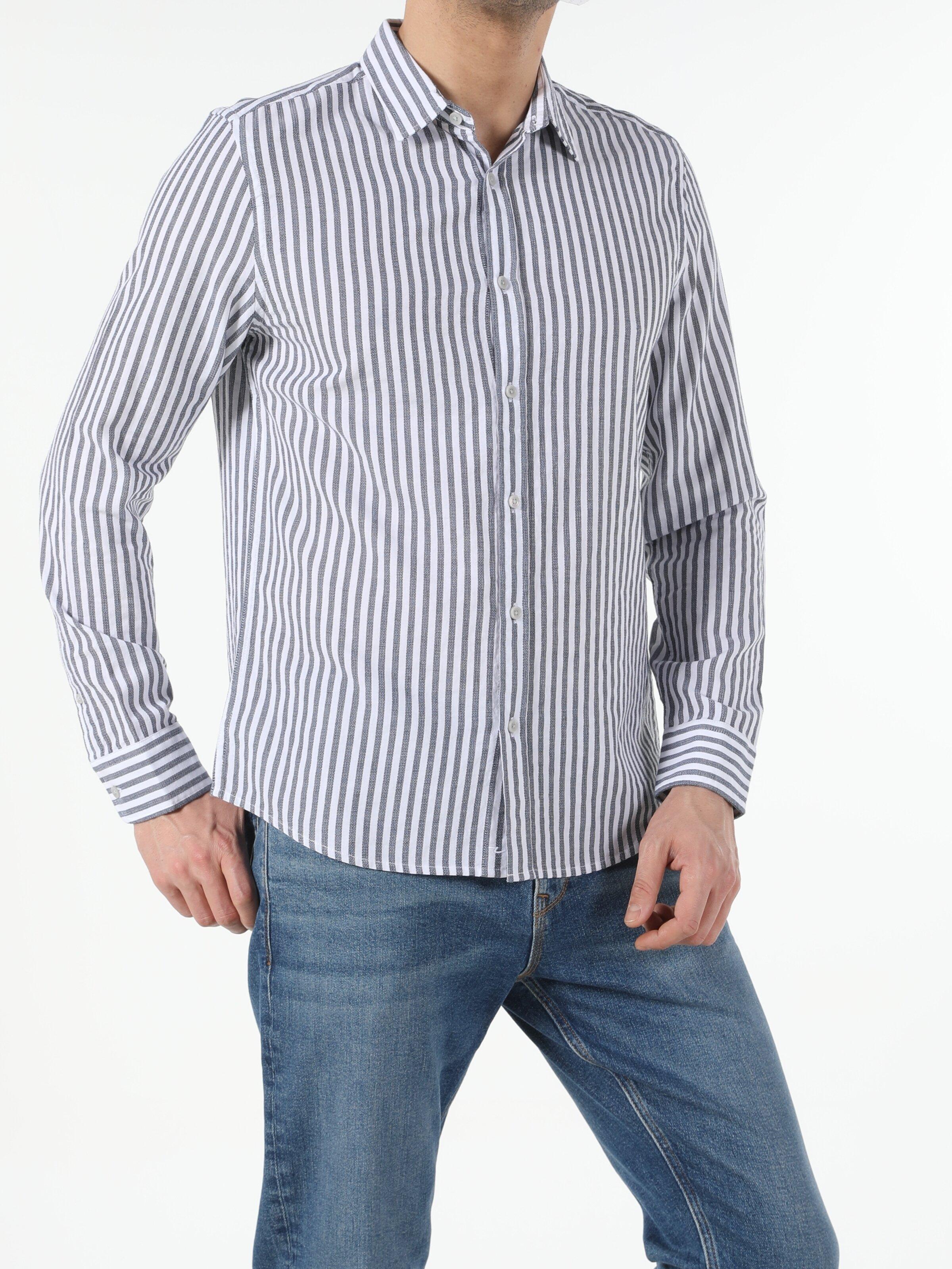 Antrasit Slim Fit Shirt Neck  Erkek Uzun Kol Gömlek