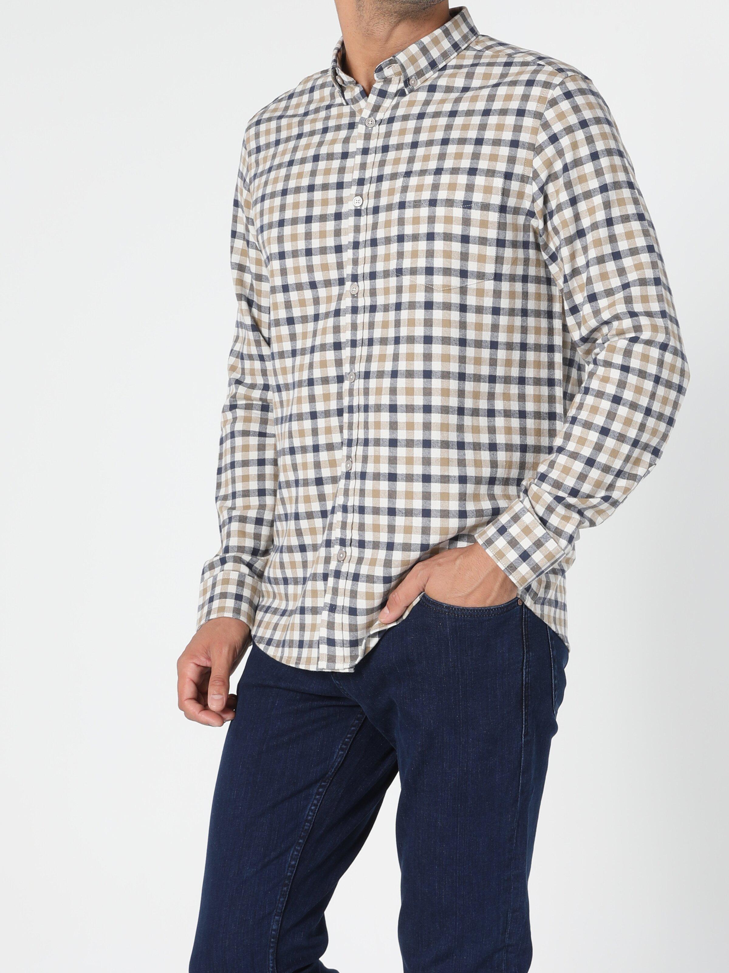 Regular Fit Bej Erkek Uzun Kol Gömlek