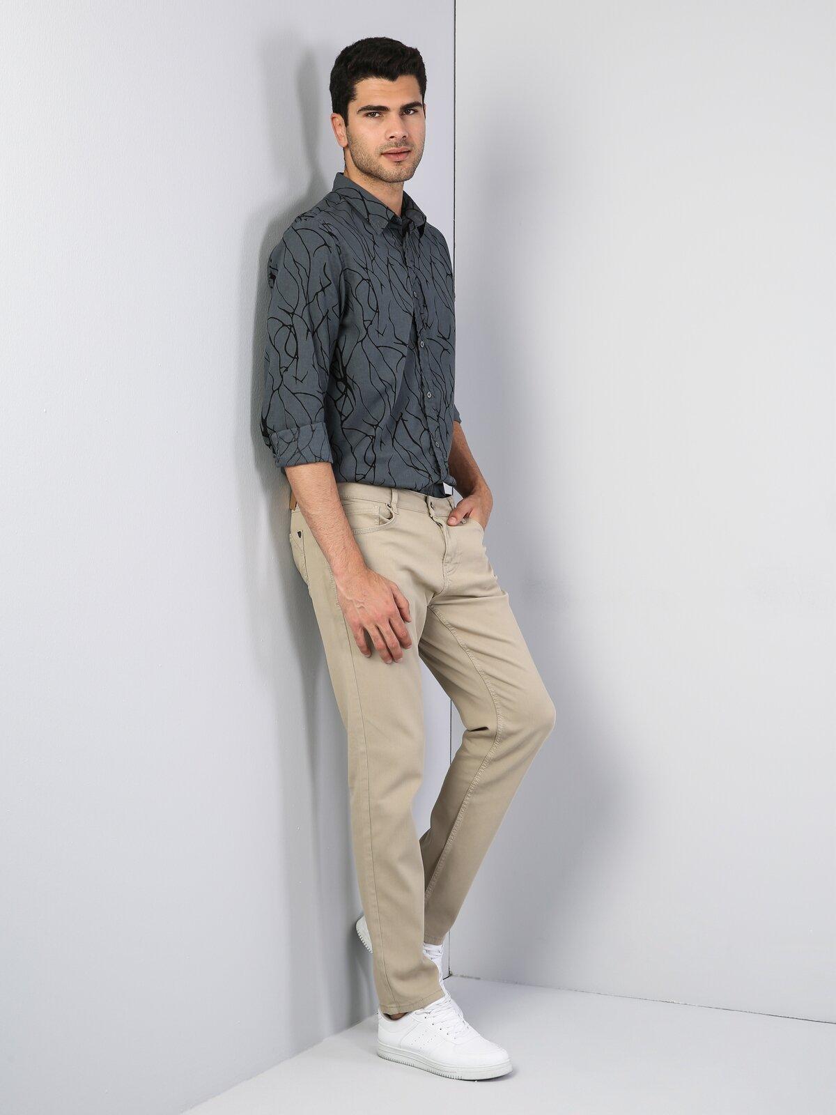 Straight Fit Orta Bel Düz Paça  Erkek Bej Pantolon