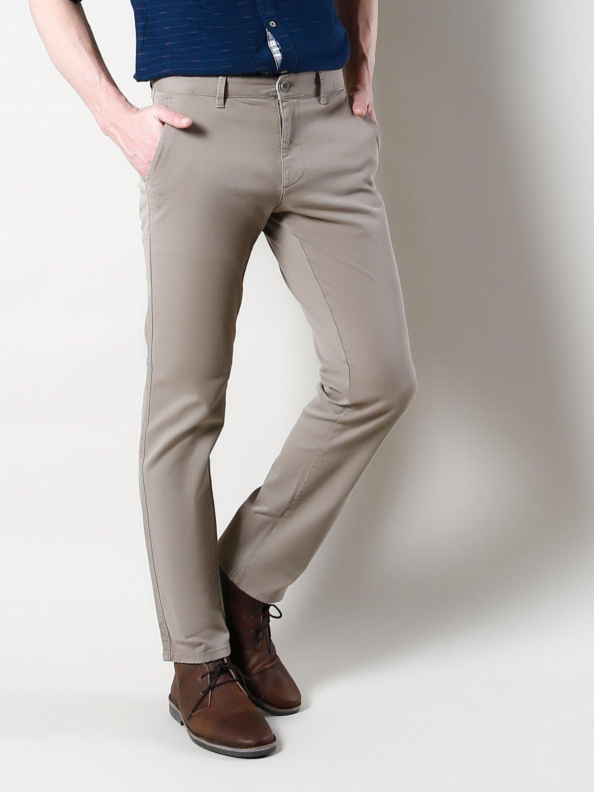 Regular Fit Orta Bel Düz Paça  Erkek Bej Pantolon