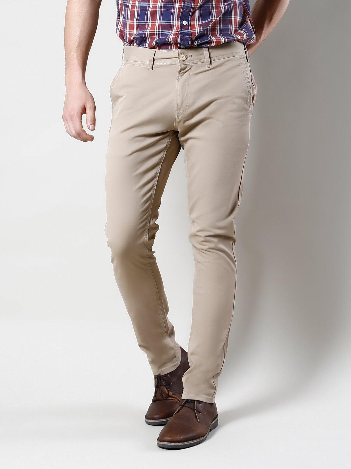 Slim Fit Orta Bel Düz Paça  Erkek Bej Pantolon