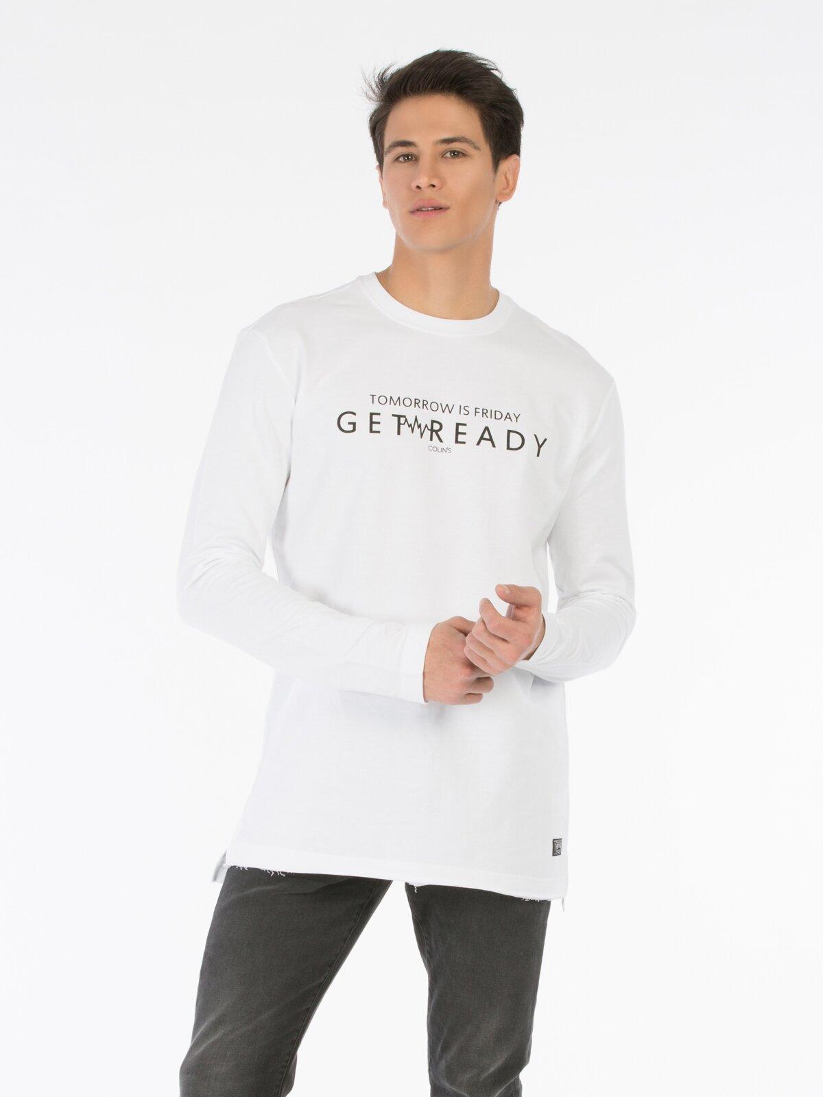Beyaz Baskılı Uzun Kol Sweatshirt