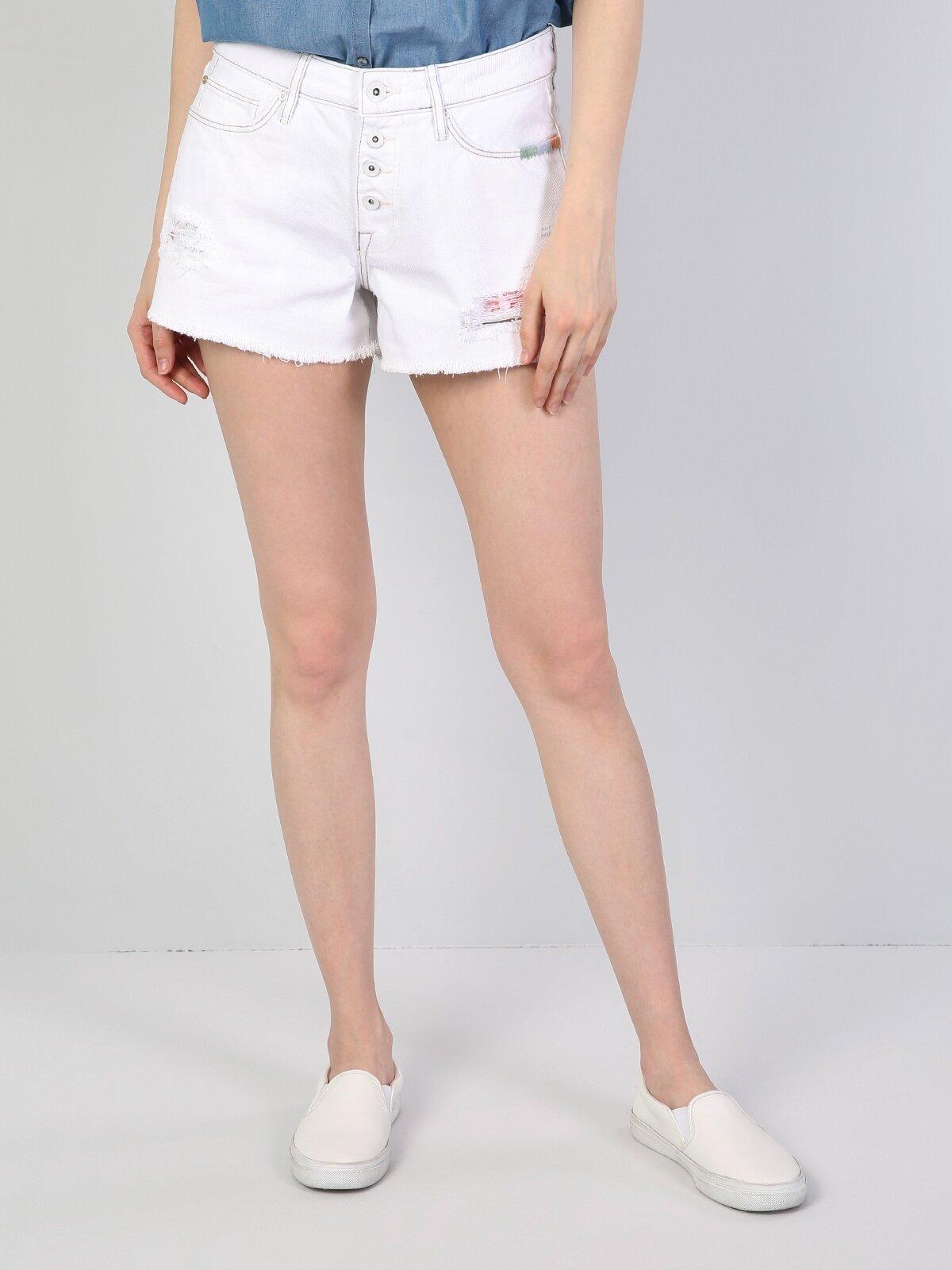 Orta Bel Kisa Slim Fit Beyaz Kadın Jean Şort