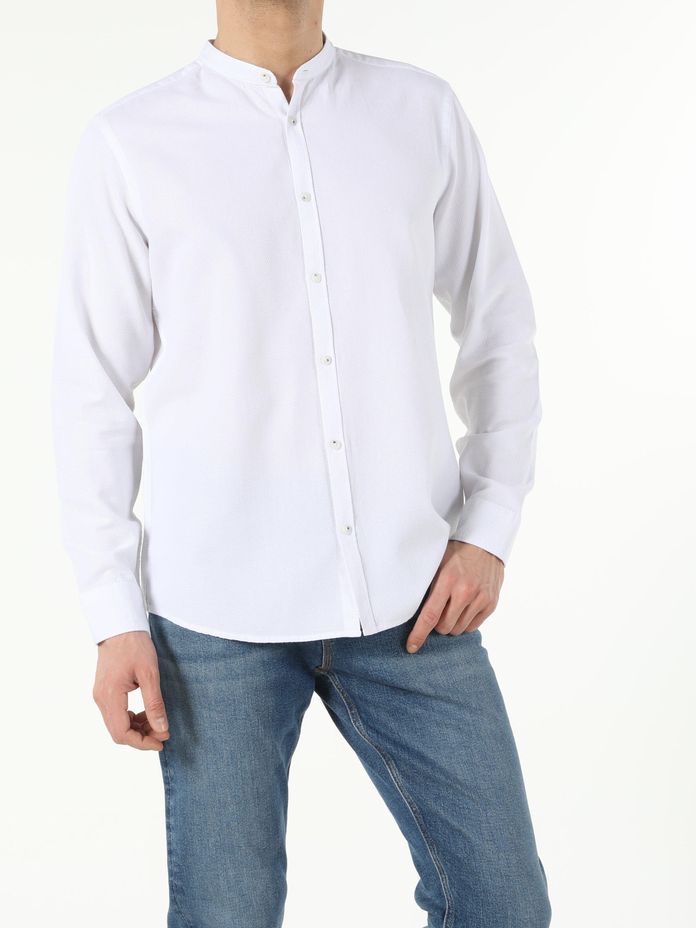 Beyaz Regular Fit Hakim  Erkek Uzun Kol Gömlek