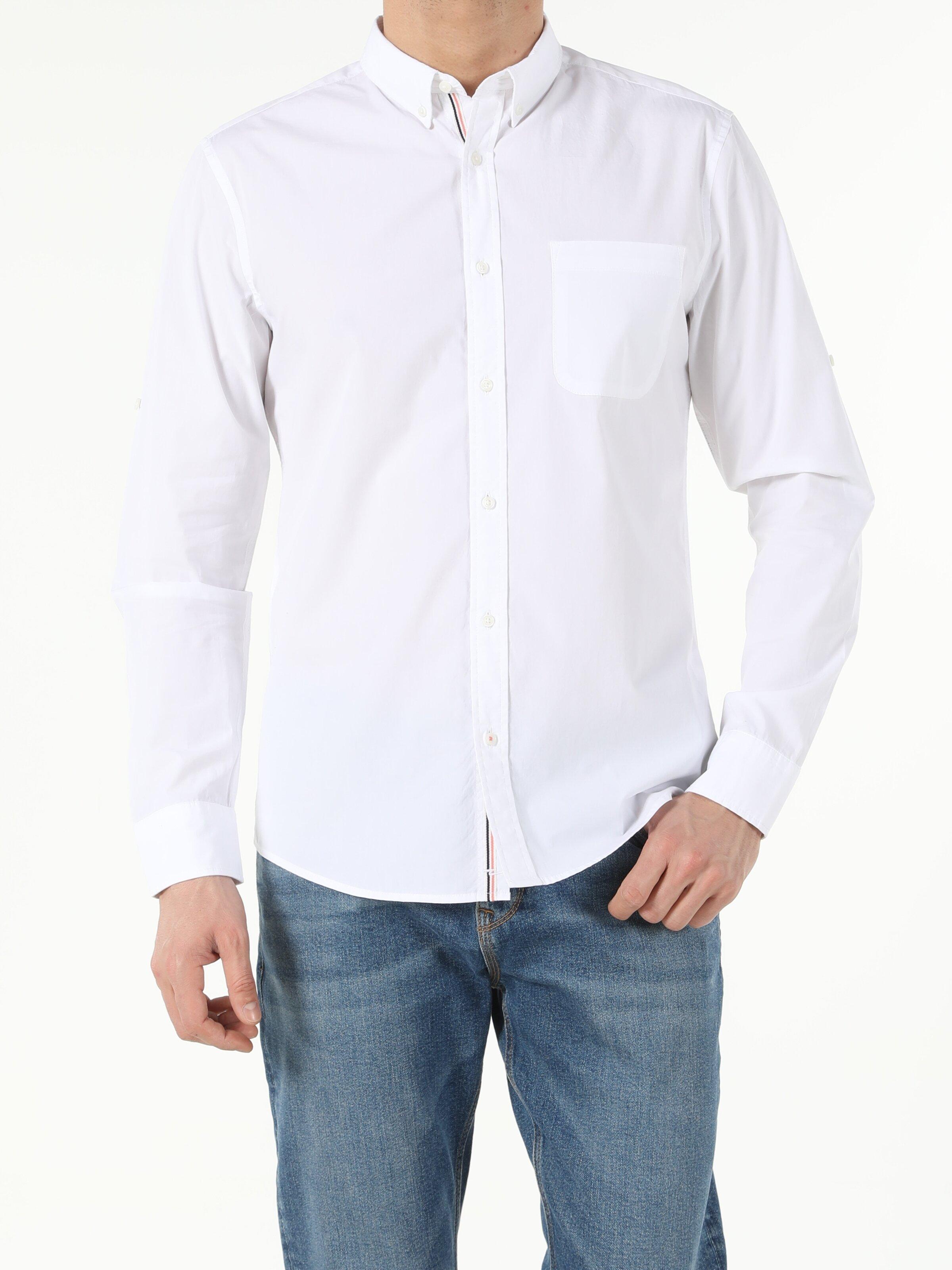 Beyaz Slim Fit Shirt Neck  Erkek Uzun Kol Gömlek