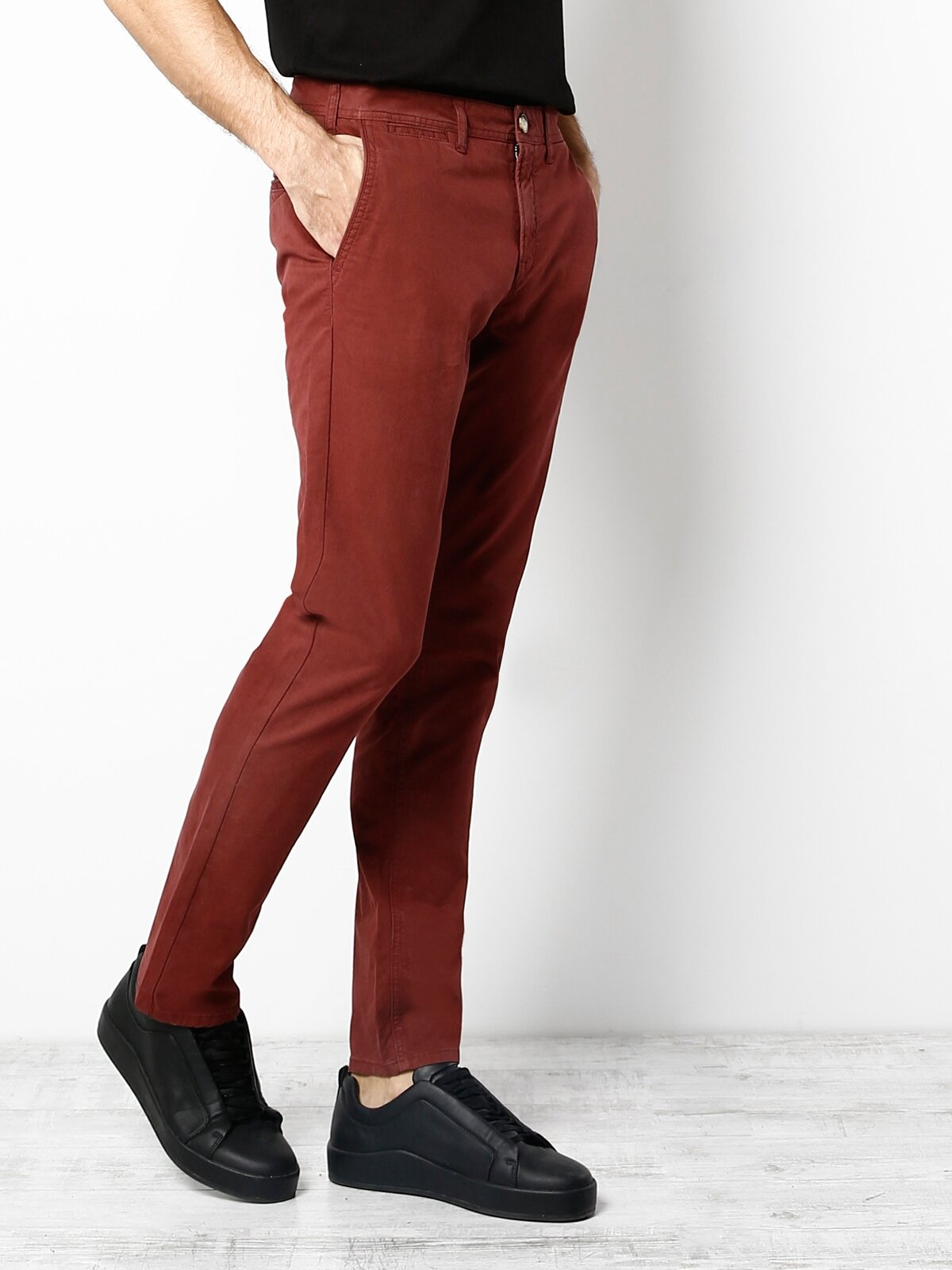 Slim Fit  Erkek Bordo Pantolon
