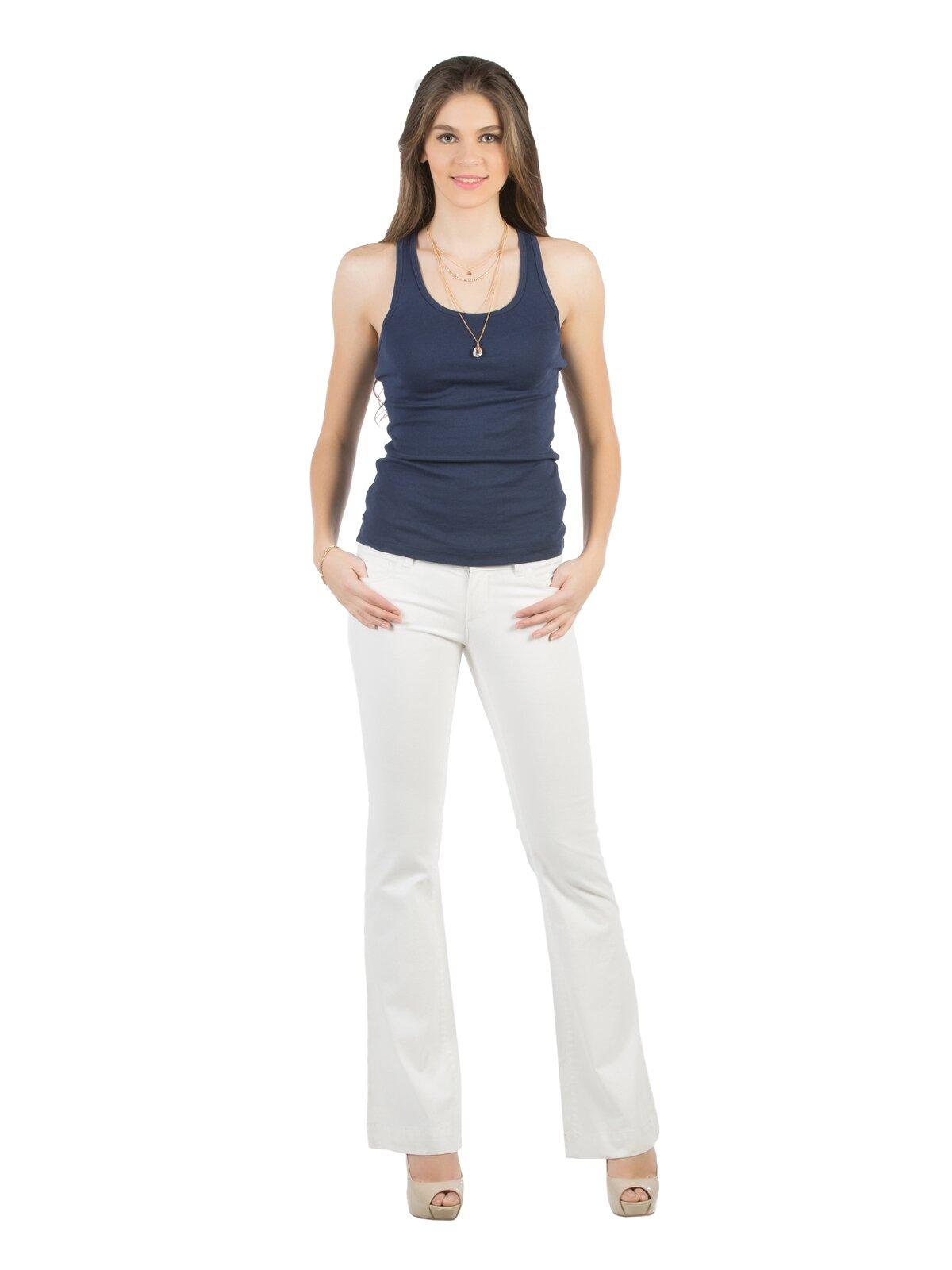 Slim Fit Super Flare Paça Düşük Bel Beyaz Kadın Pantolon