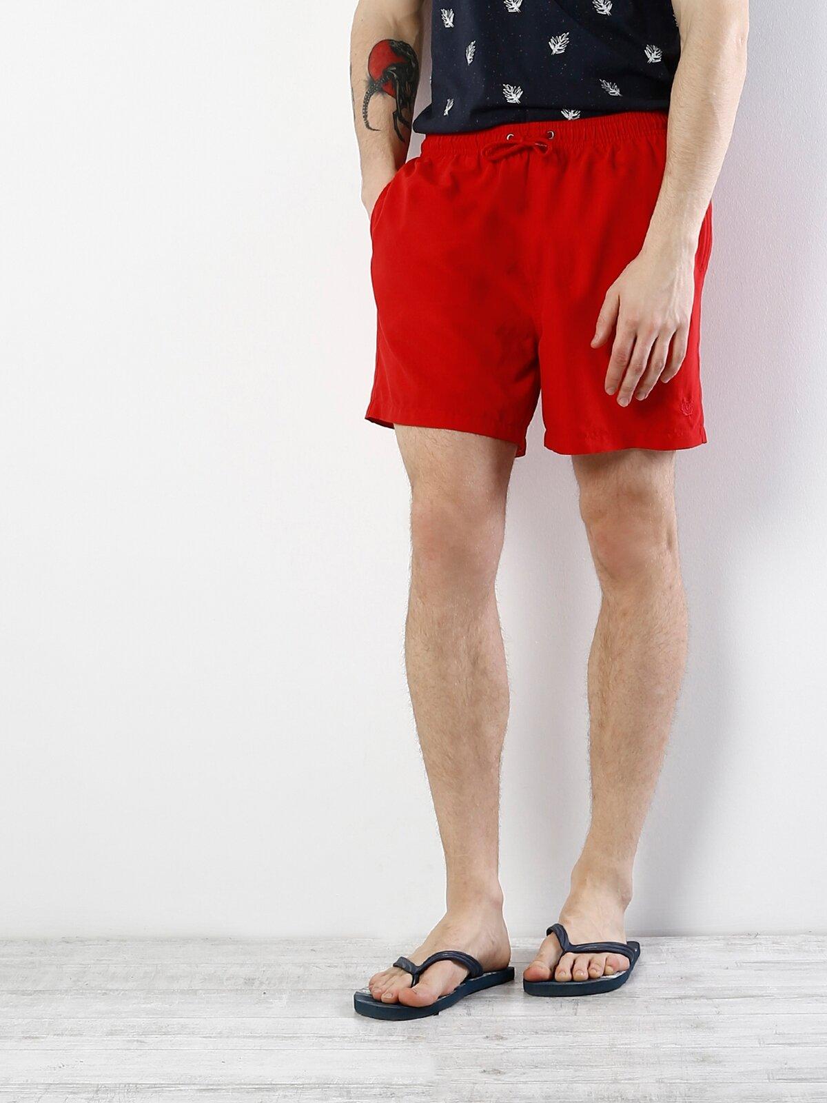Kırmızı Orta Bel Erkek Deniz Şortu