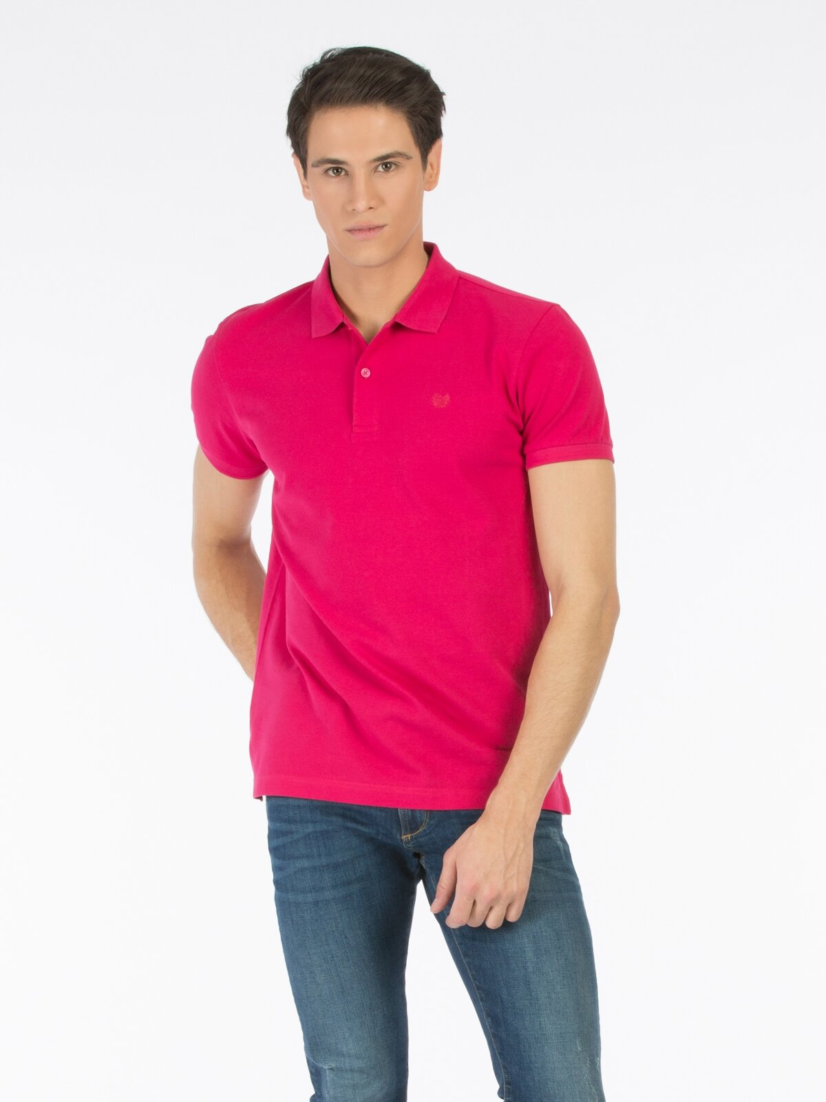 Polo Yaka Pembe Kısa Kol Tişört